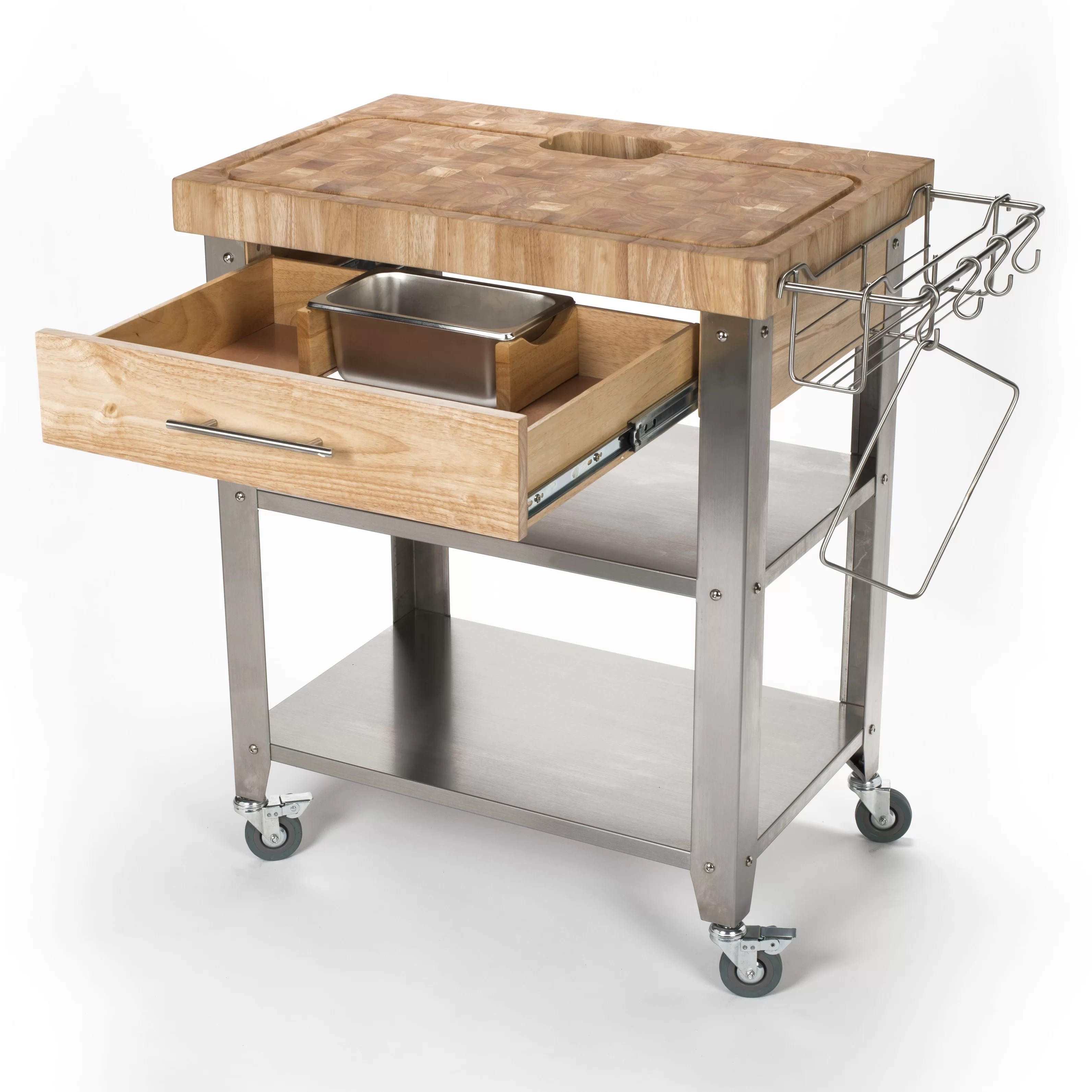 chris and kitchen cart cleaning cabinets pro stadium with butcher block