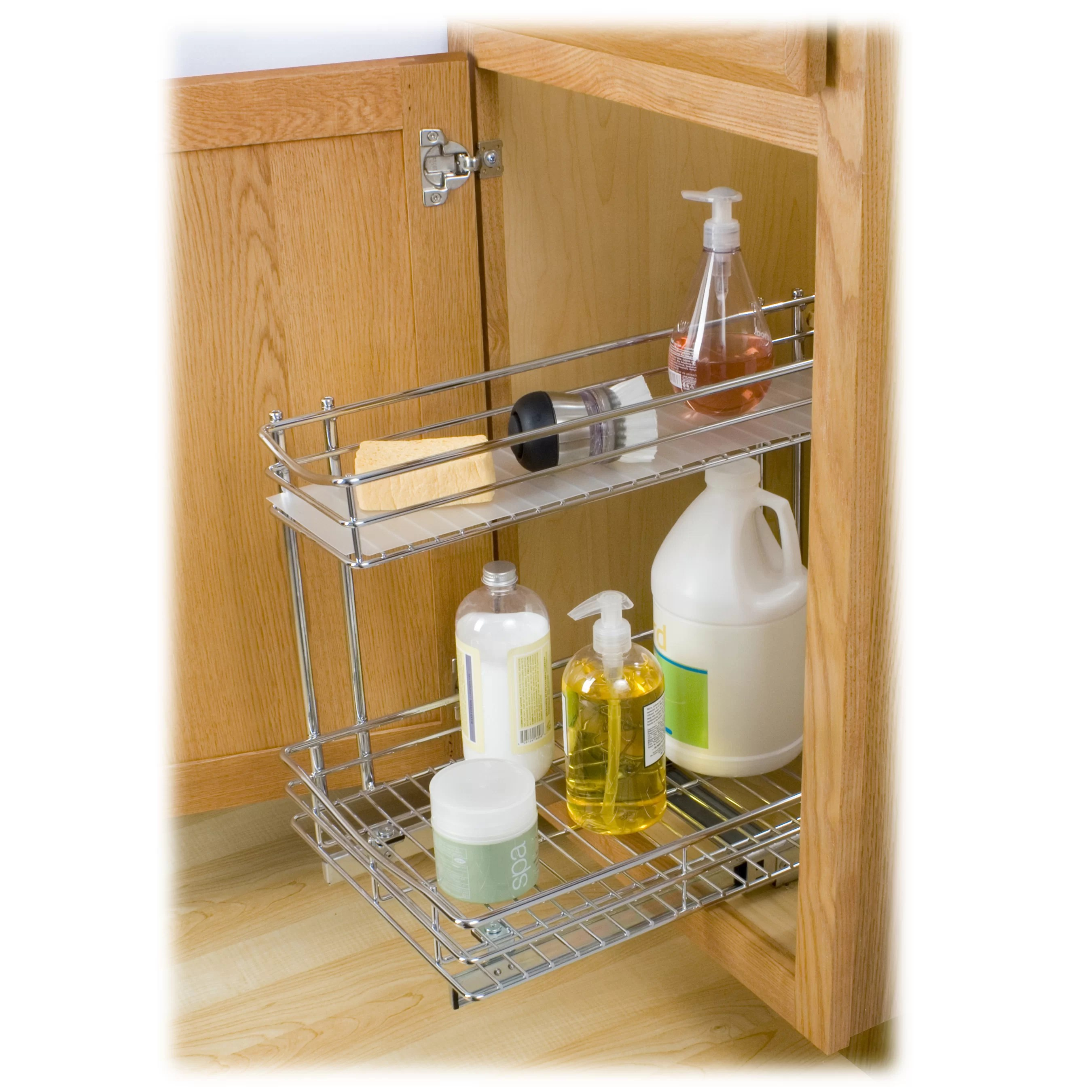 two tier kitchen drawer organizer pantry shelving systems lynk professional roll out under sink cabinet