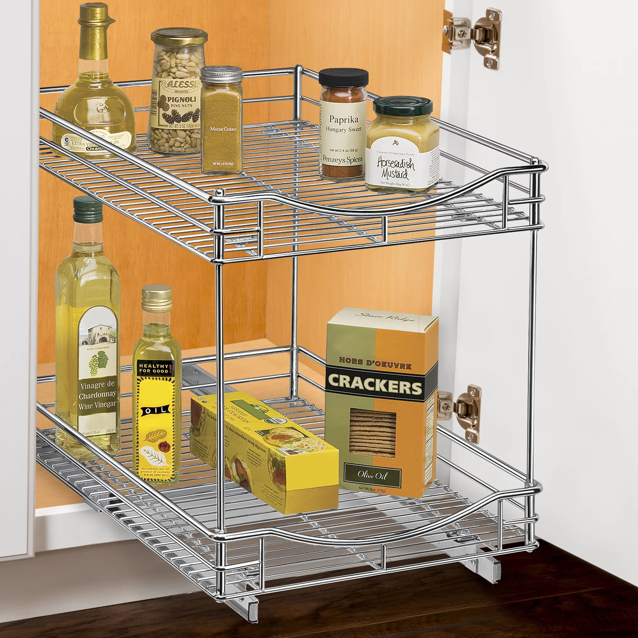 two tier kitchen drawer organizer replacing a sink lynk roll out double shelf pull sliding