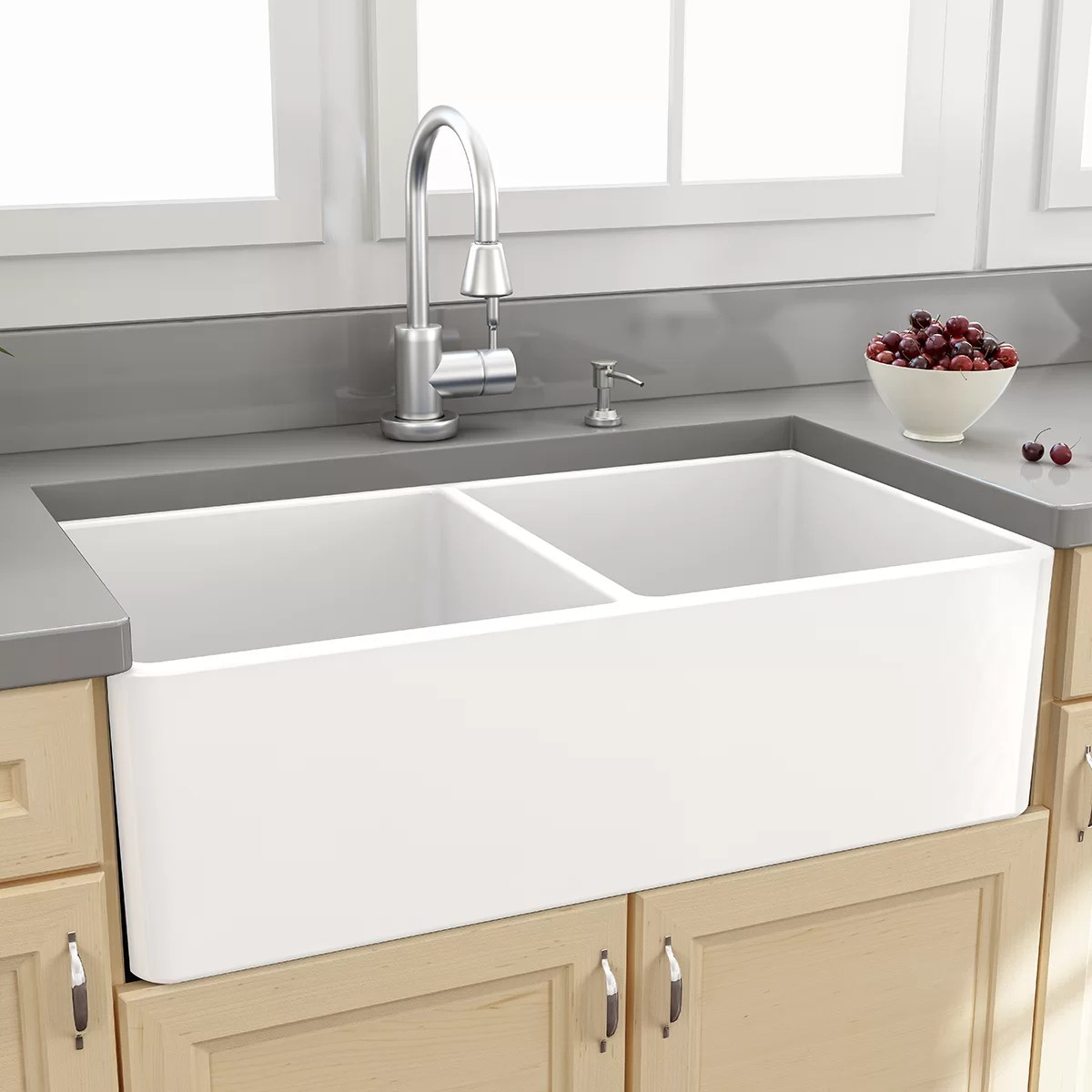 double kitchen sink pulls nantucket sinks farmhouse 33 quot x 18 bowl
