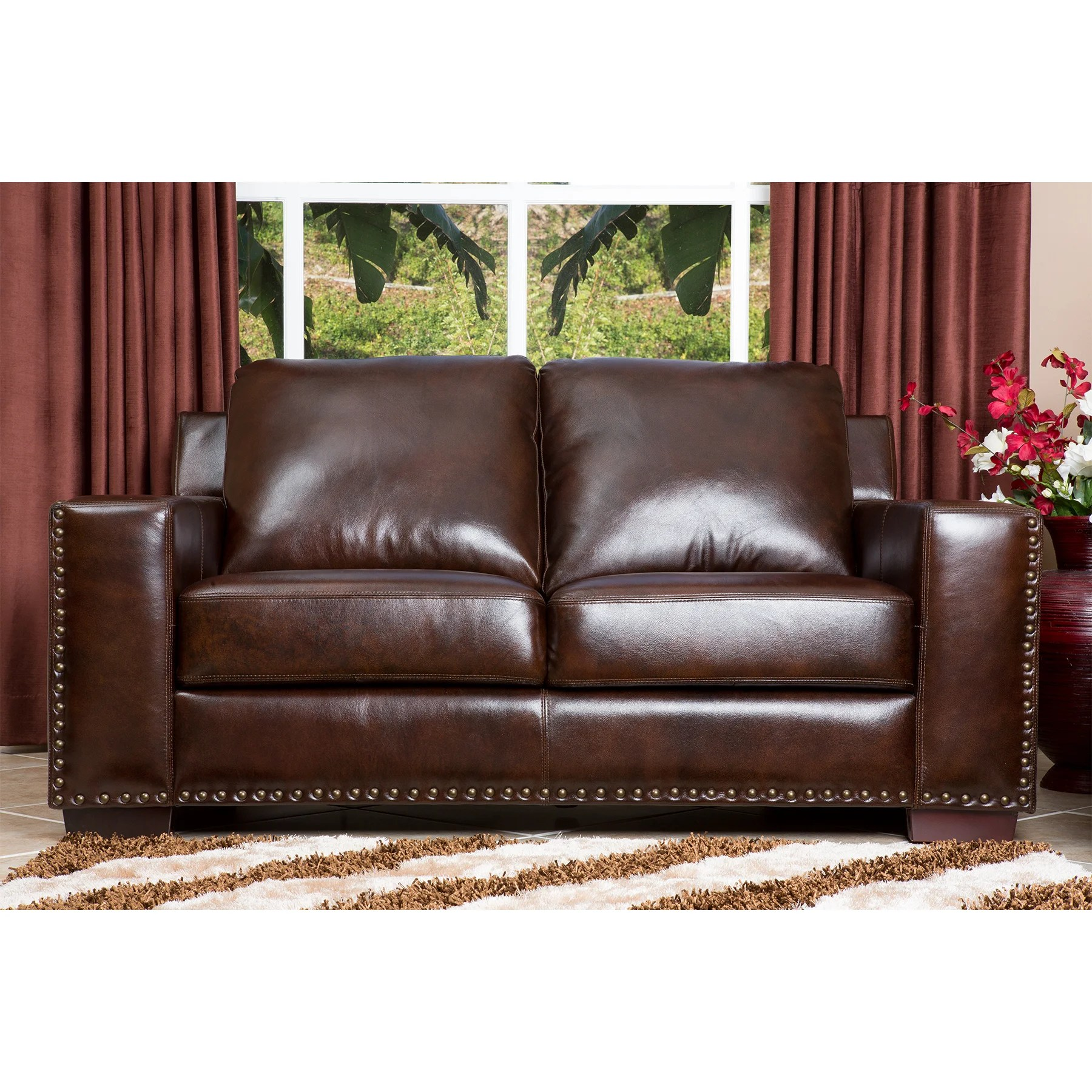 abbyson leather sofa reviews reclining sets sale living beverly loveseat and wayfair