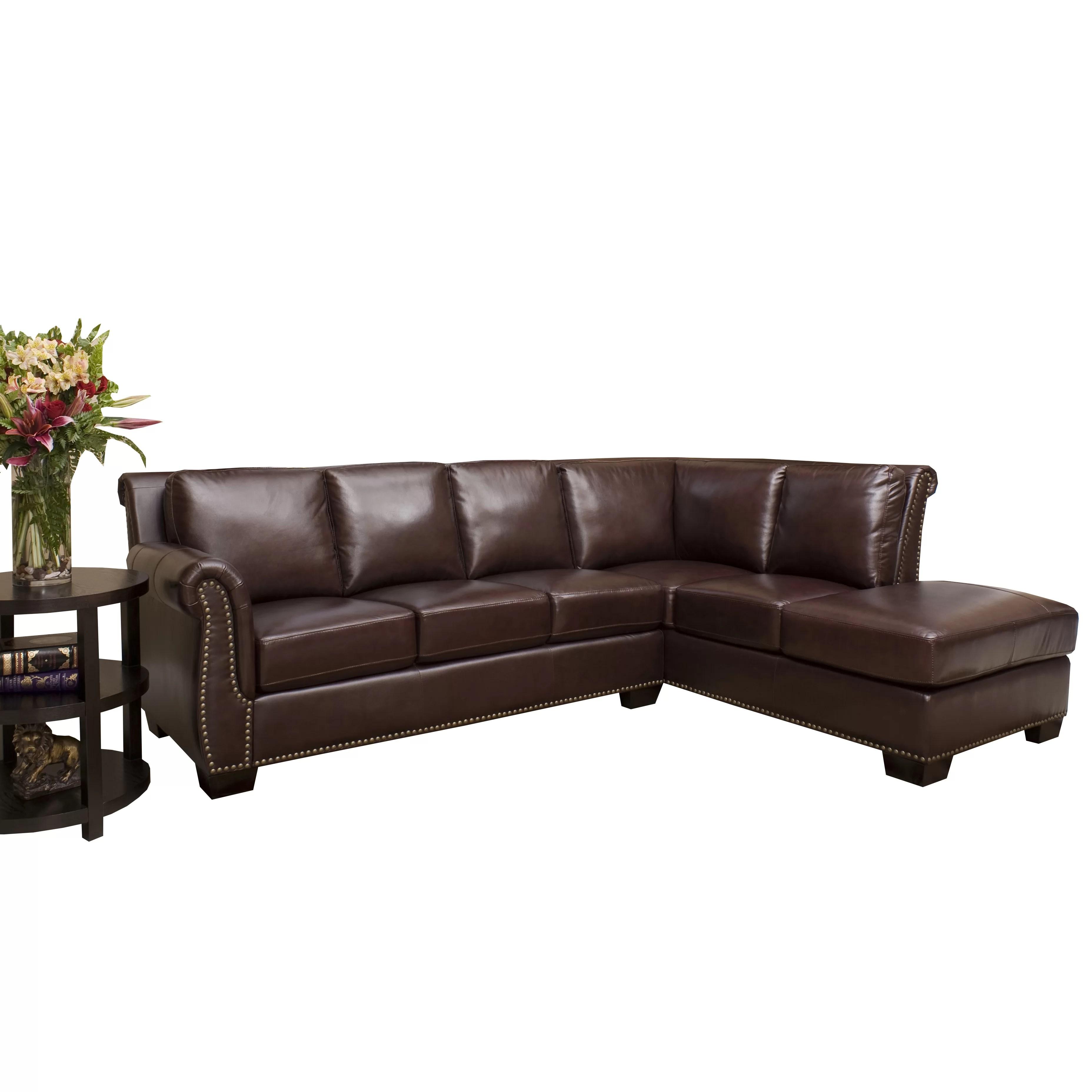 abbyson living berkshire italian leather sectional sofa coastal slipcovered ellis and reviews
