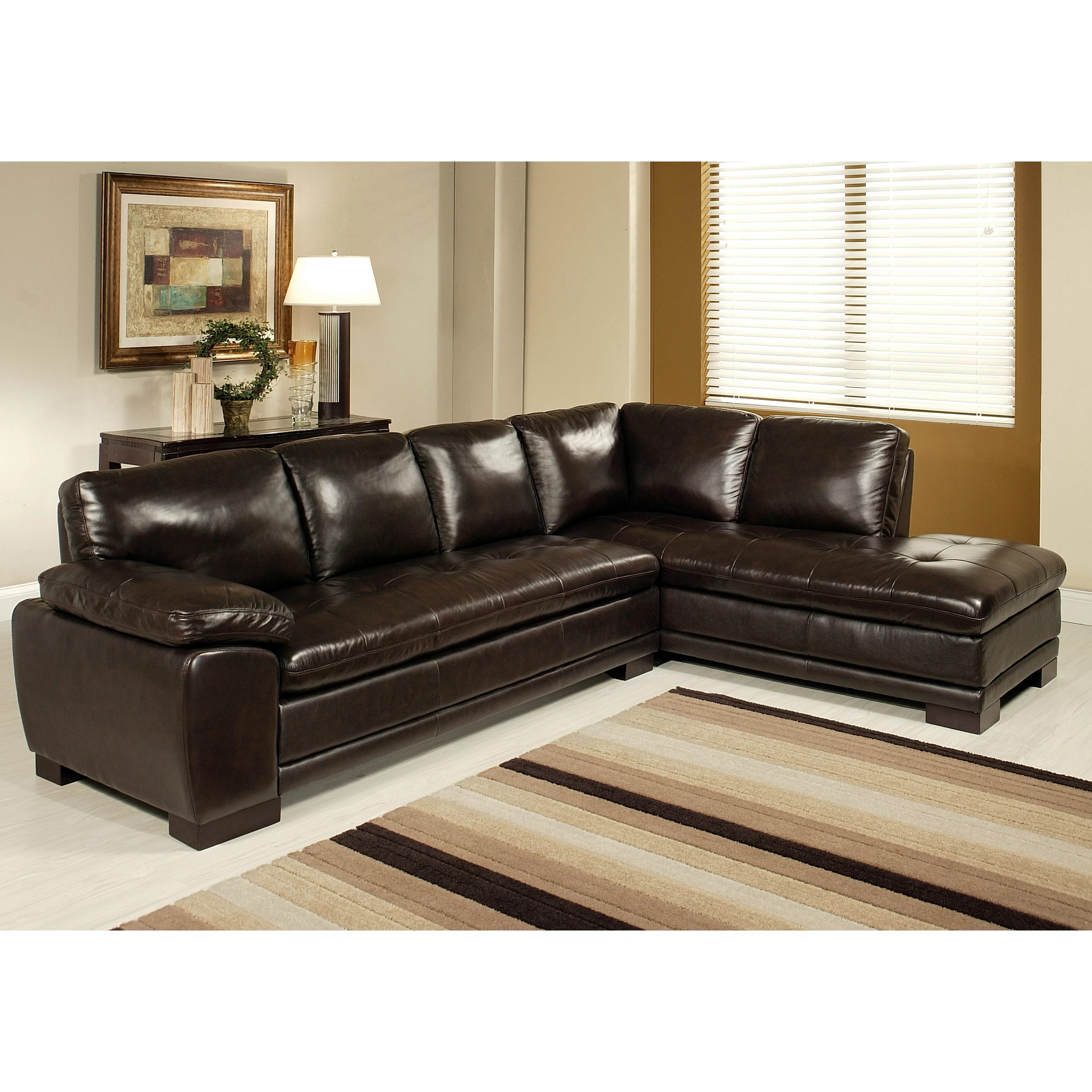 abbyson leather sofa rattan rounded corner living tivoli sectional and reviews wayfair