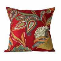 Novica Seema Handmade Embroidered Applique Throw Pillow ...