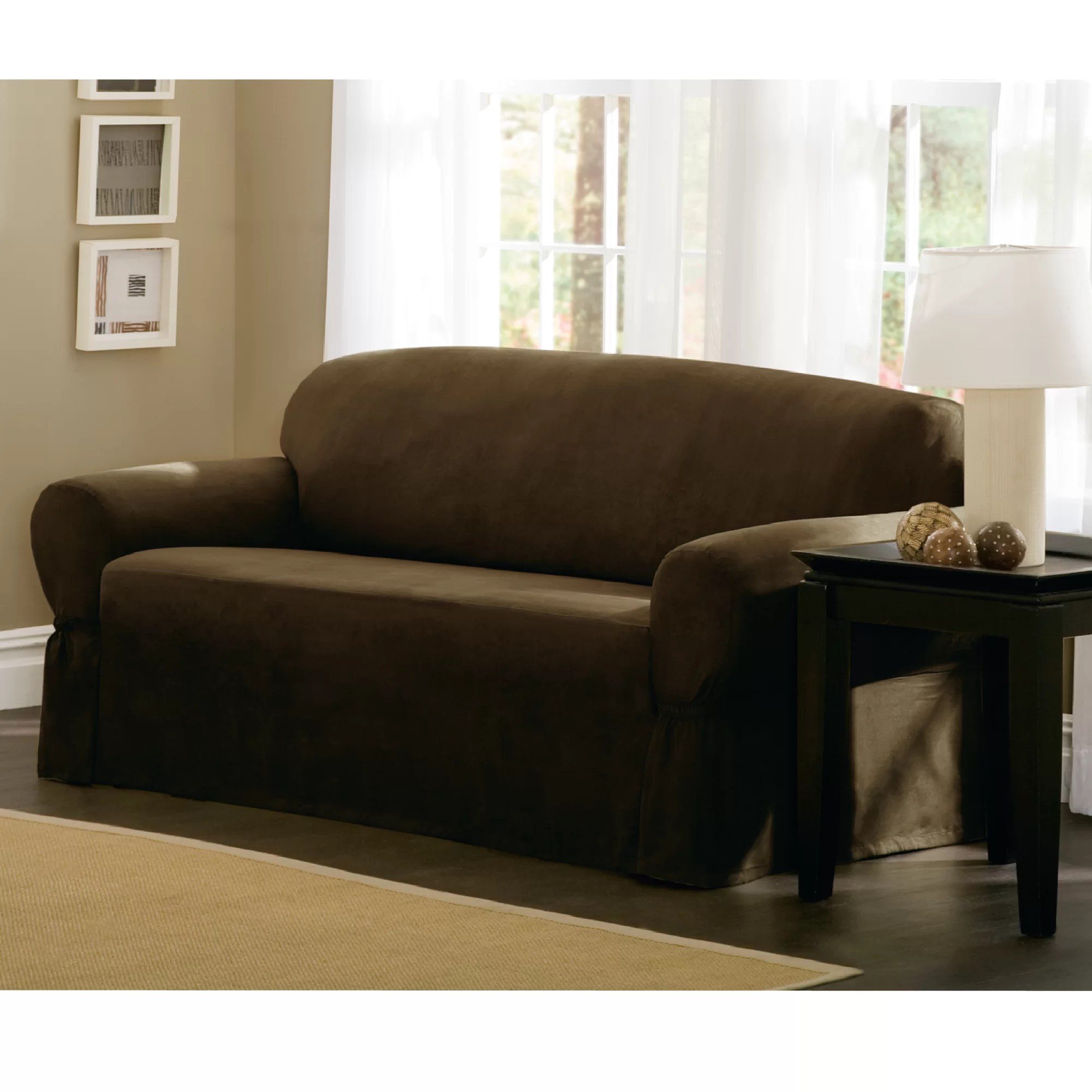 sofa covers low price small apartment size bed maytex t cushion loveseat slipcover and reviews wayfair