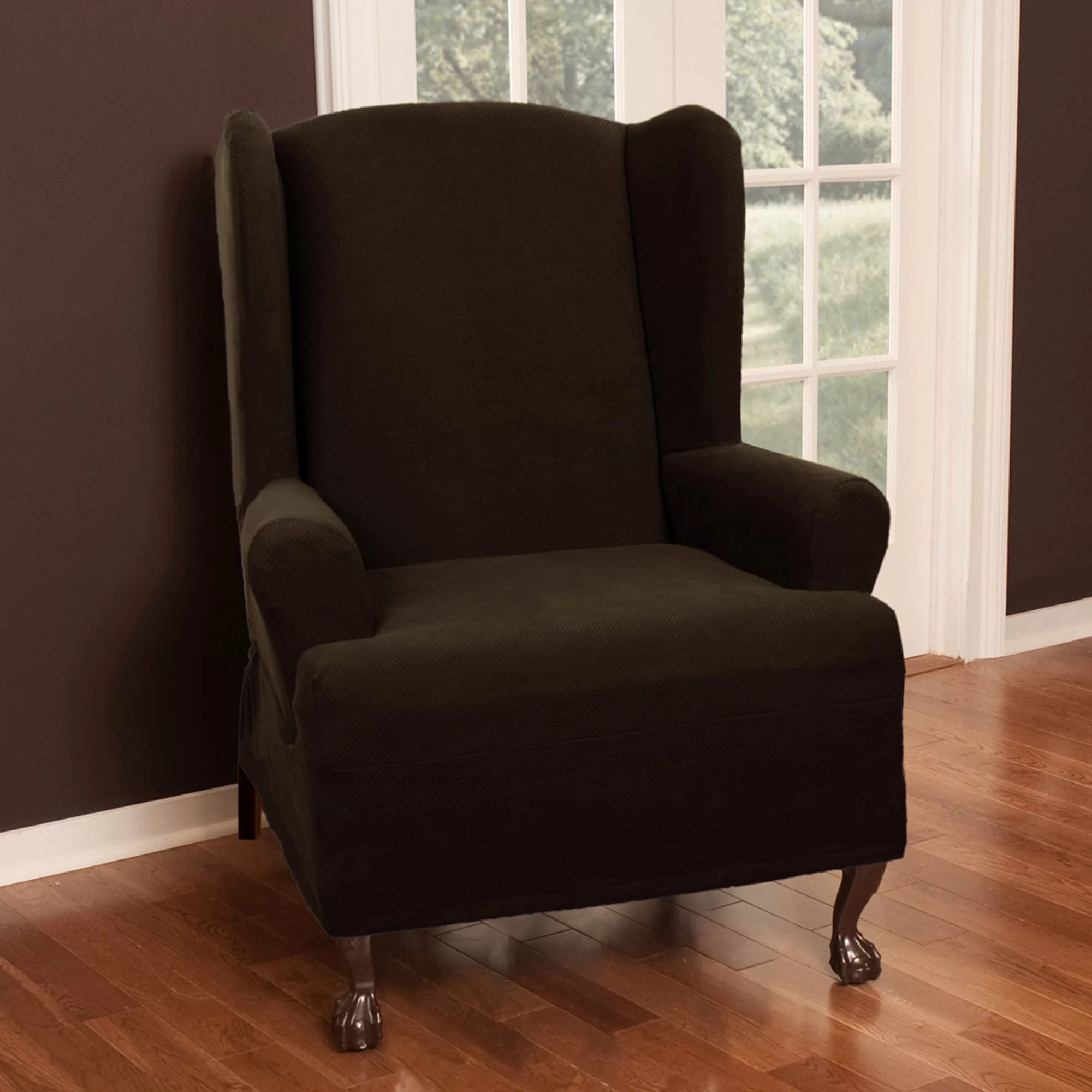 slipcovers for wingback chairs with t cushion pottery barn table and toddlers maytex pixel stretch wing chair slipcover