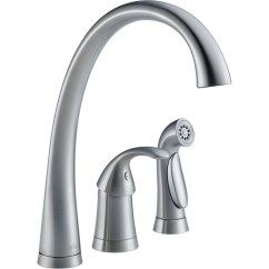 Single Handle Kitchen Faucet With Sprayer Mirrored Cabinets Delta Pilar Deck Mounted