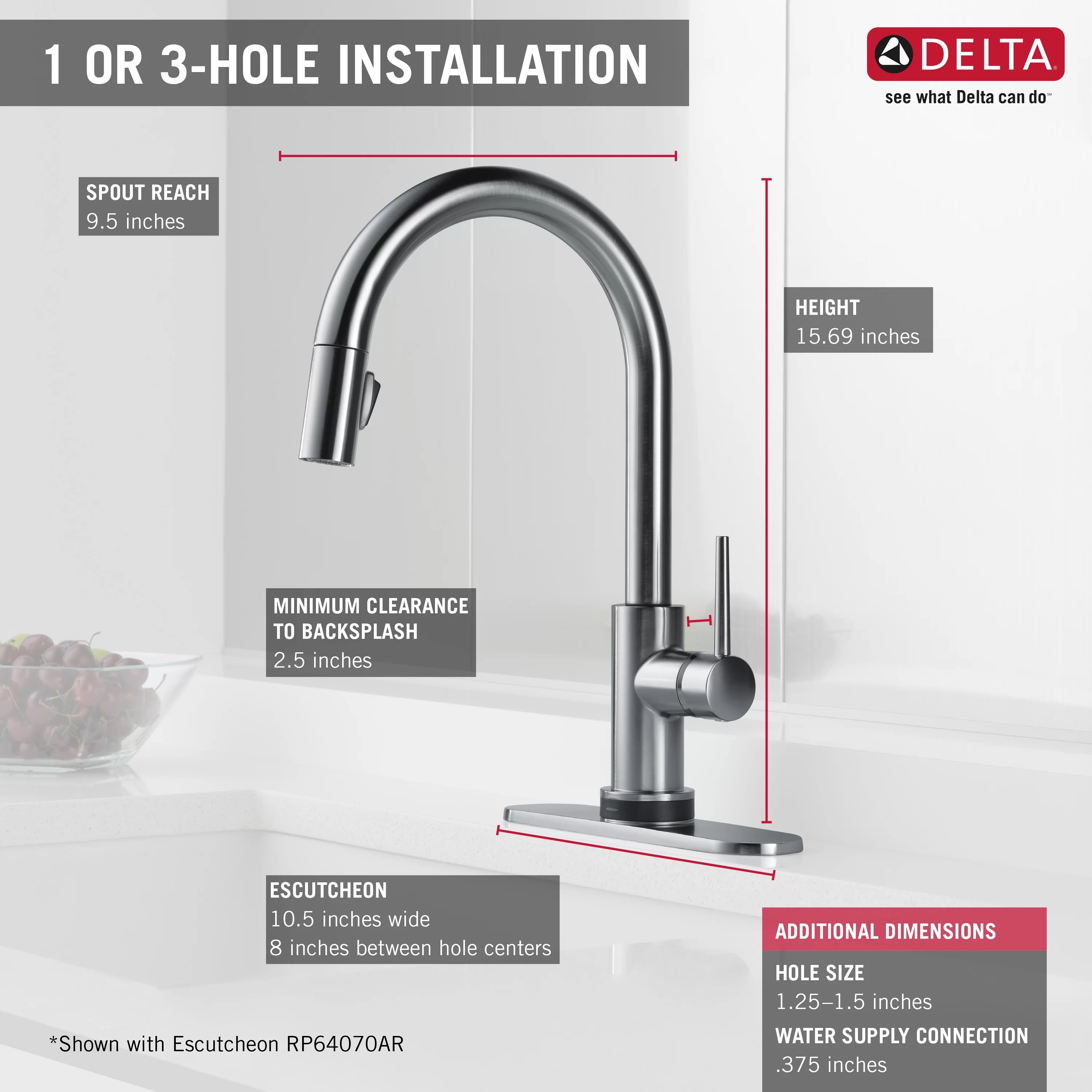 delta trinsic kitchen faucet cabinets diy single handle deck mounted