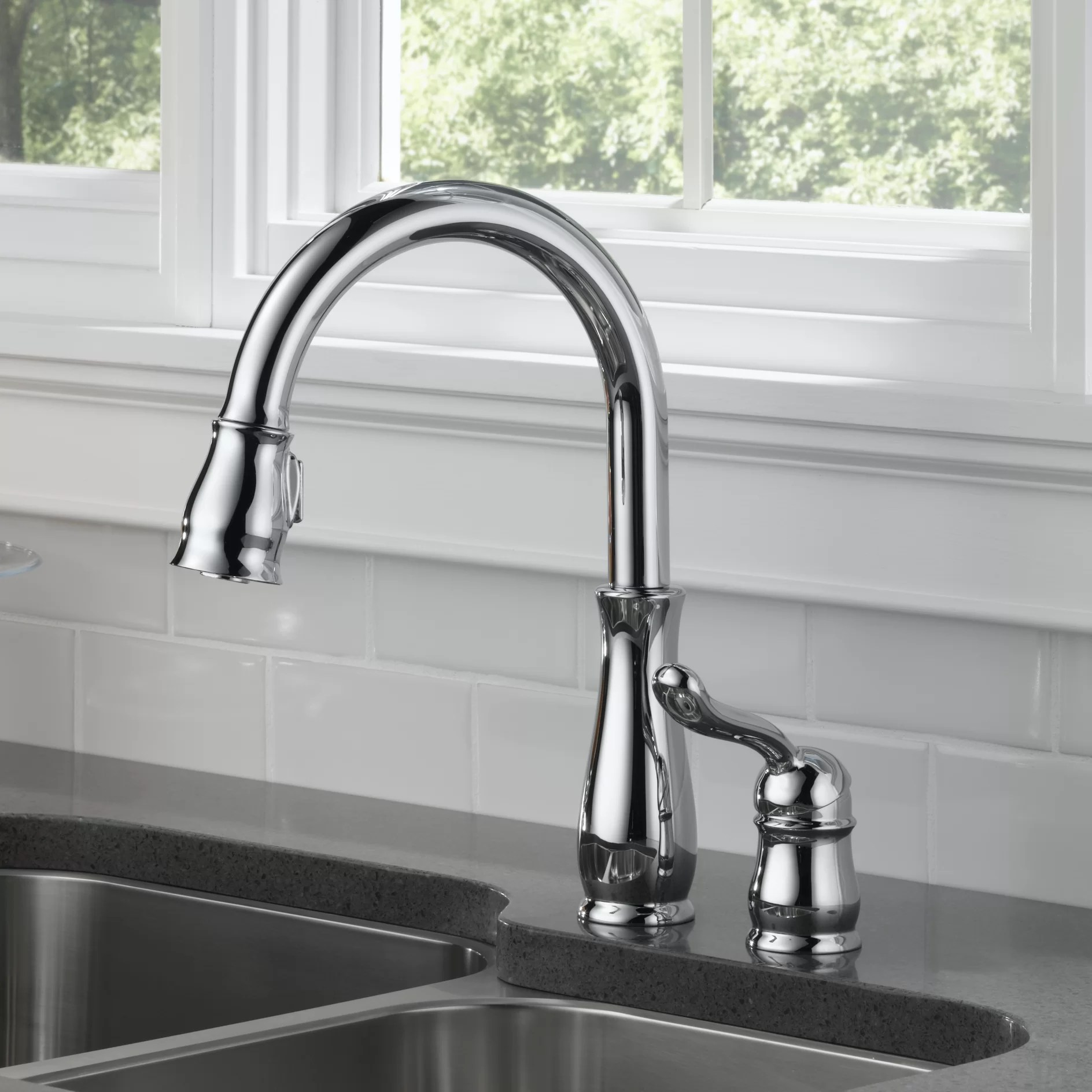 pull down kitchen faucet reviews sink base cabinet with drawers delta leland single handle standard