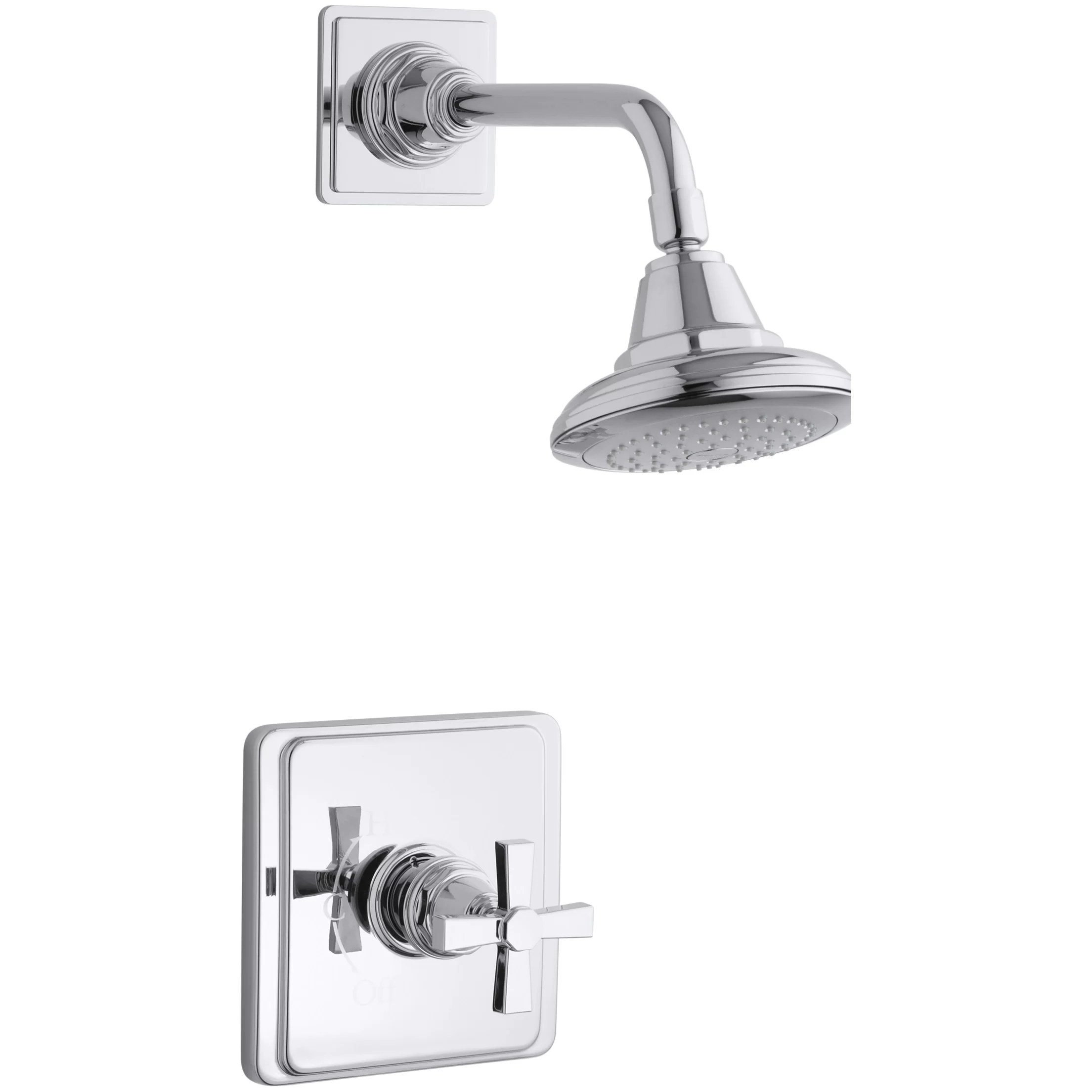 Kohler Pinstripe Pure RiteTemp PressureBalancing Shower Faucet Trim with Cross Handle Valve