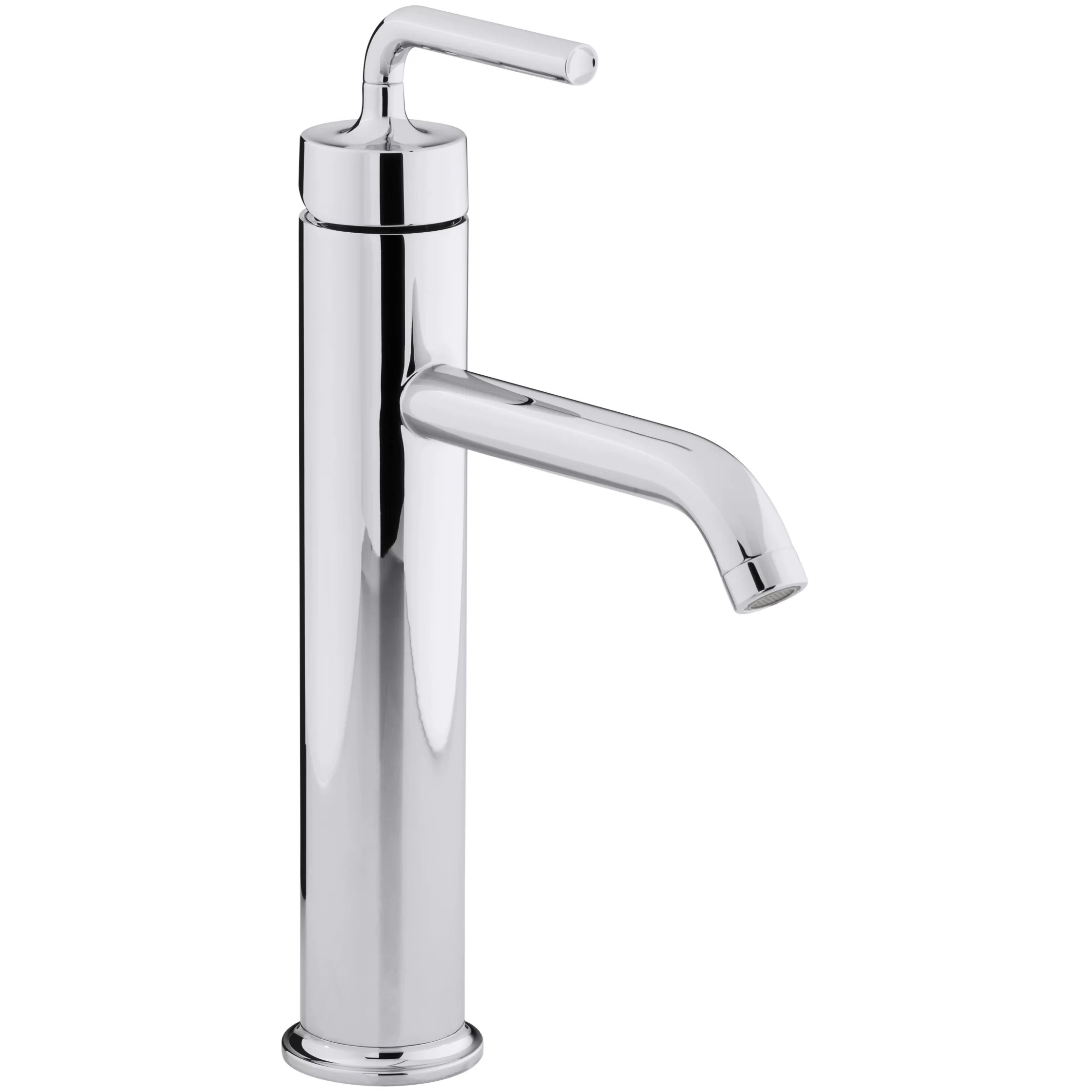 kohler kitchen sink faucets floor tiles ideas purist tall single hole bathroom faucet with