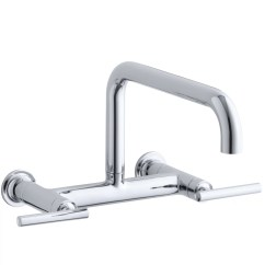 Wall Mounted Kitchen Faucets Black Faucet For Kohler Purist Two Hole Mount Bridge Sink