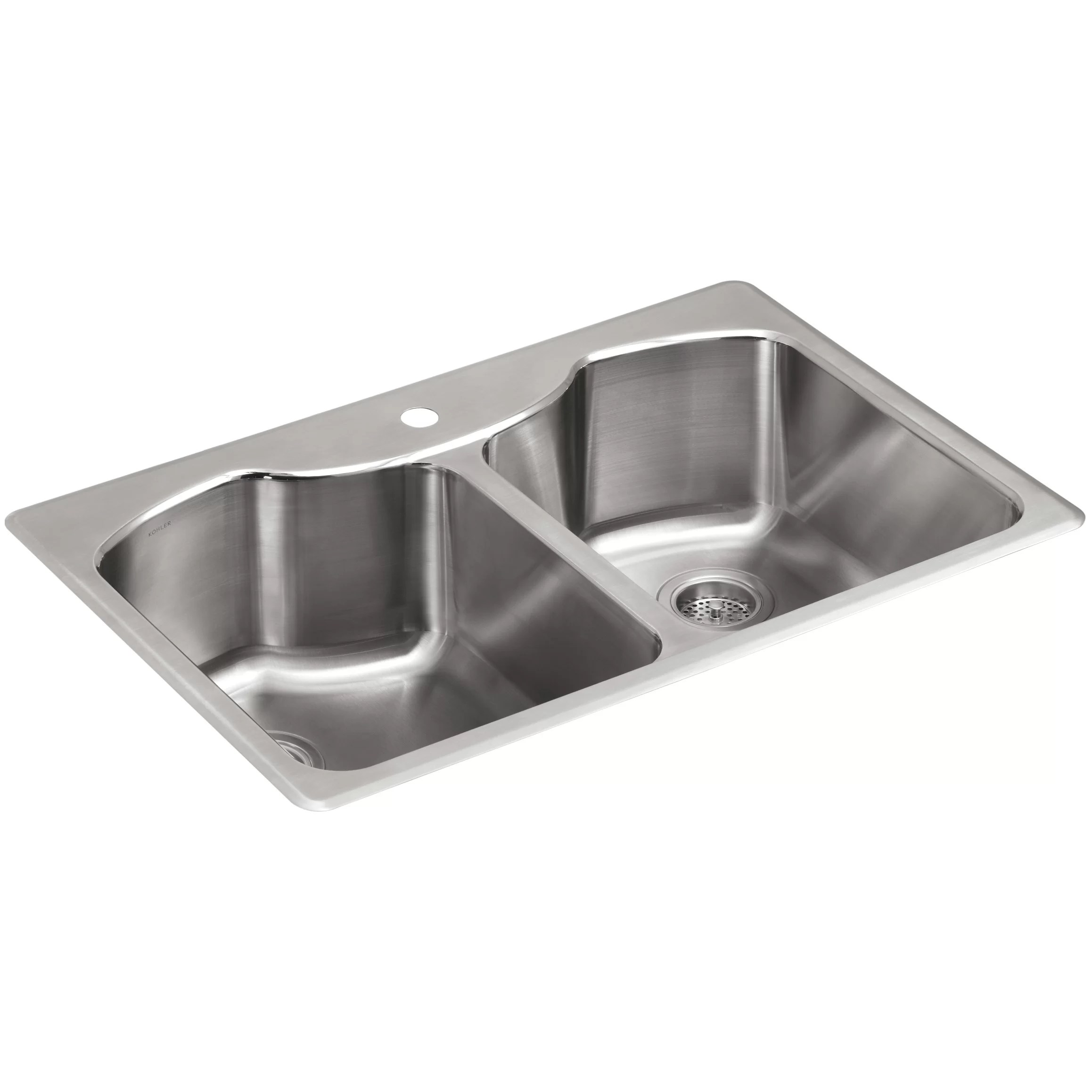 stainless steel kitchen sinks 33 x 22 modern island for sale kohler octave quot 9 5 16 top mount double equal