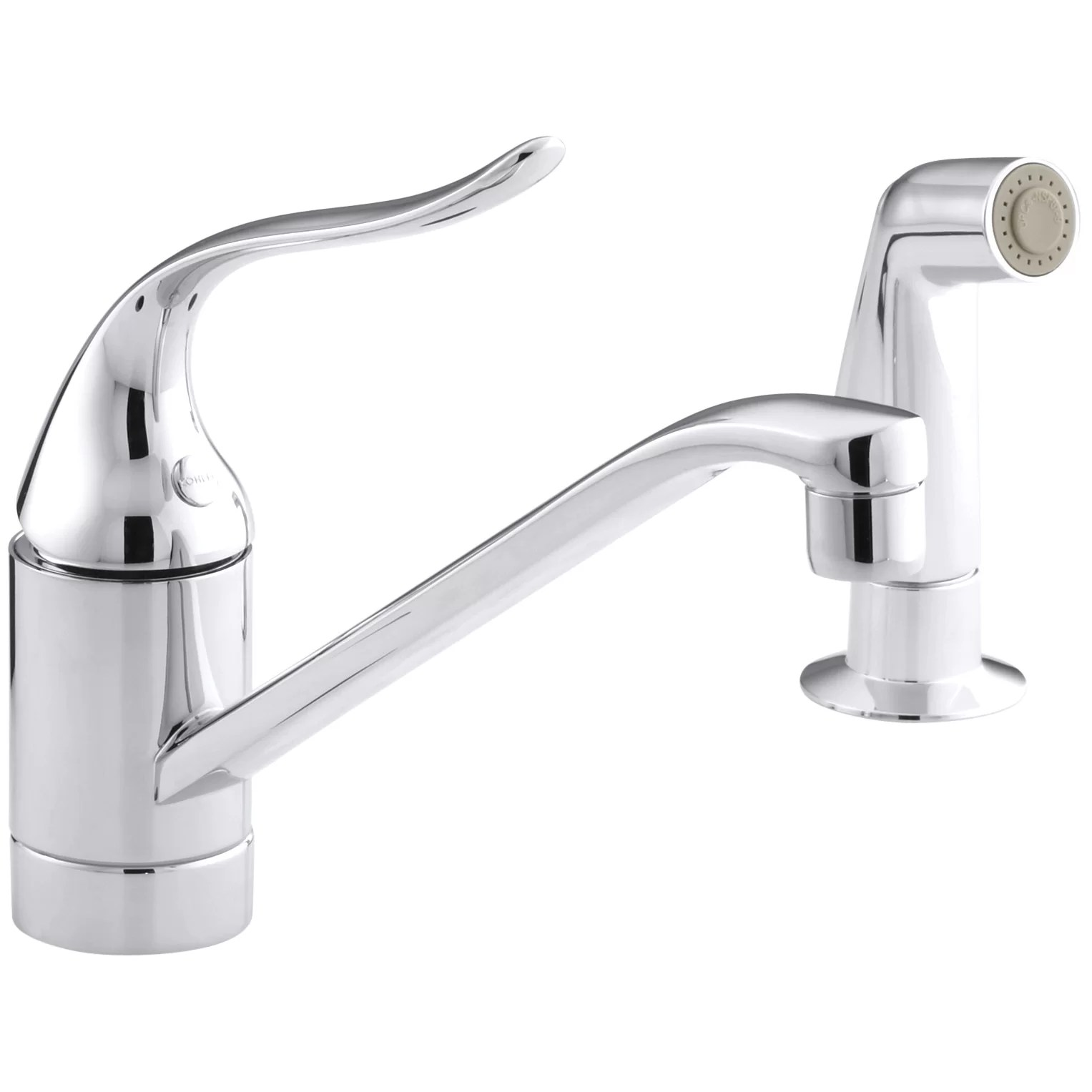 kitchen faucet with side spray countertop types kohler coralais two hole sink 8 1 2