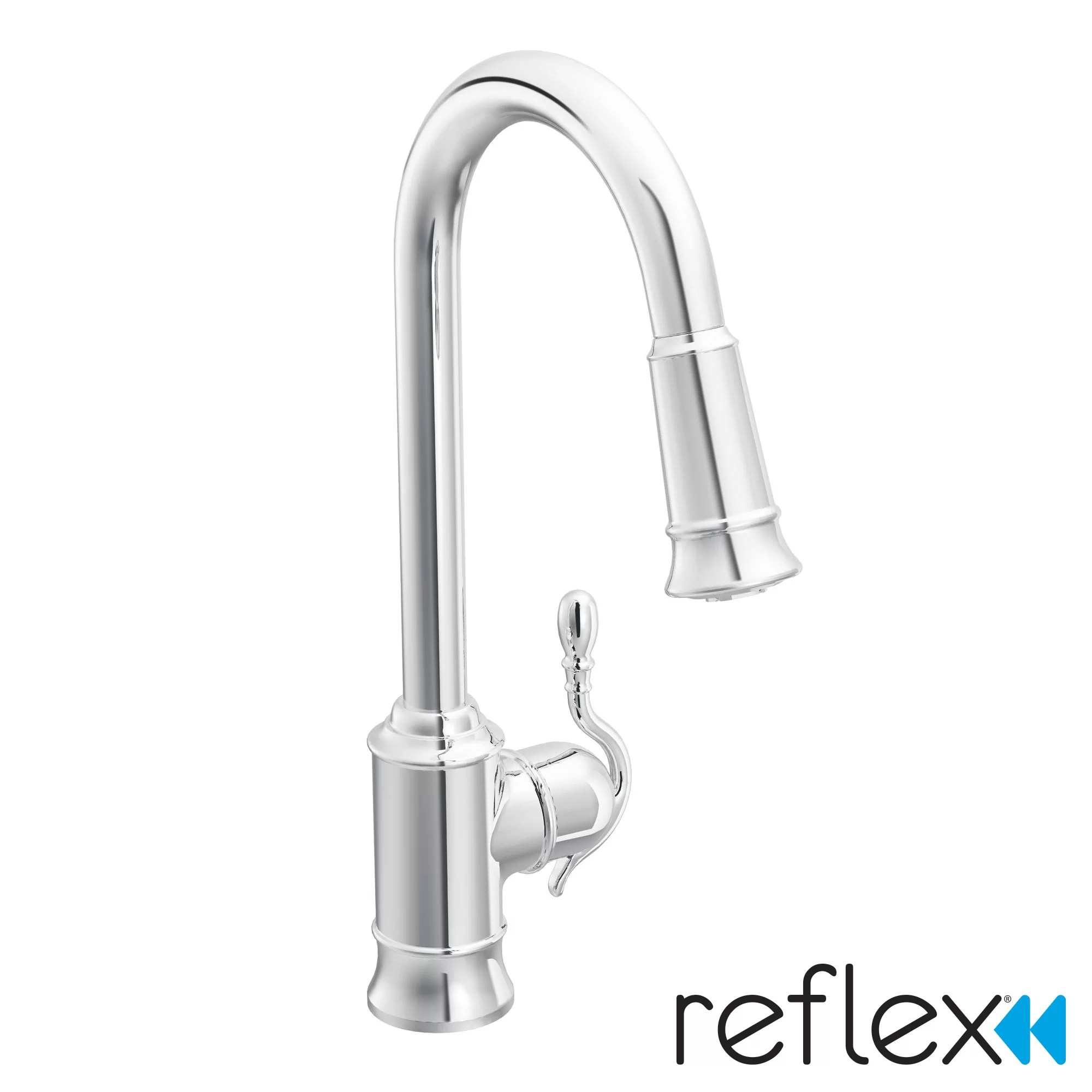 single handle pulldown kitchen faucet cabinets knobs moen woodmere hole