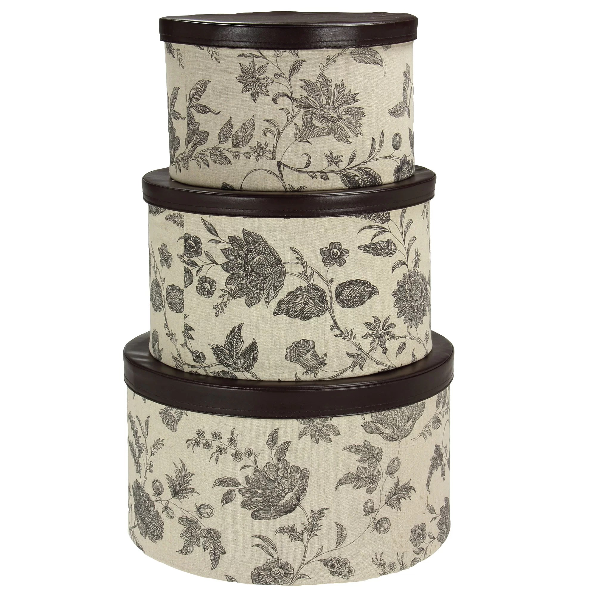 Household Essentials 3 Piece Hat Box Set With Faux Leather