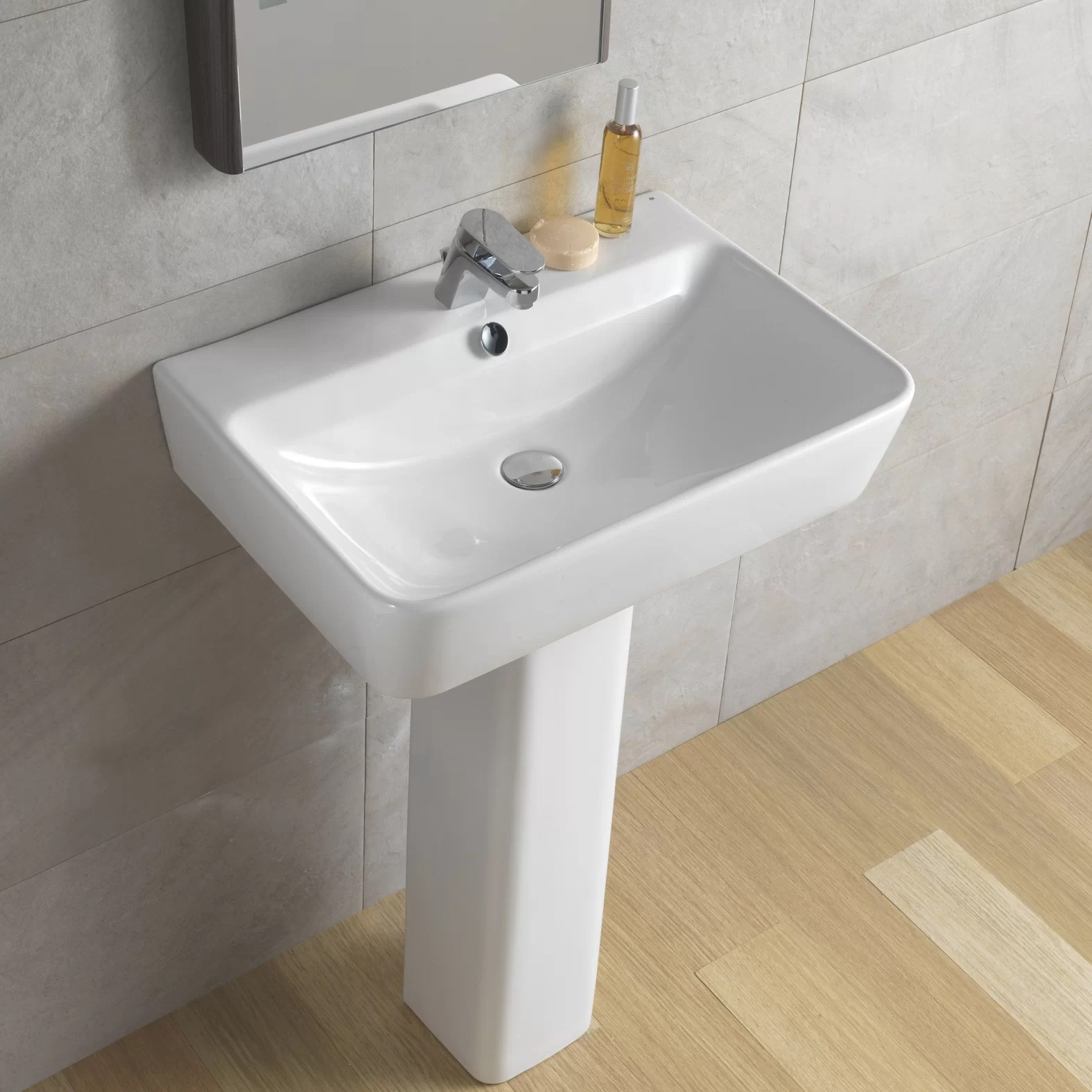 Bissonnet Emma Full Pedestal Overflow Bathroom Sink  Reviews  Wayfair