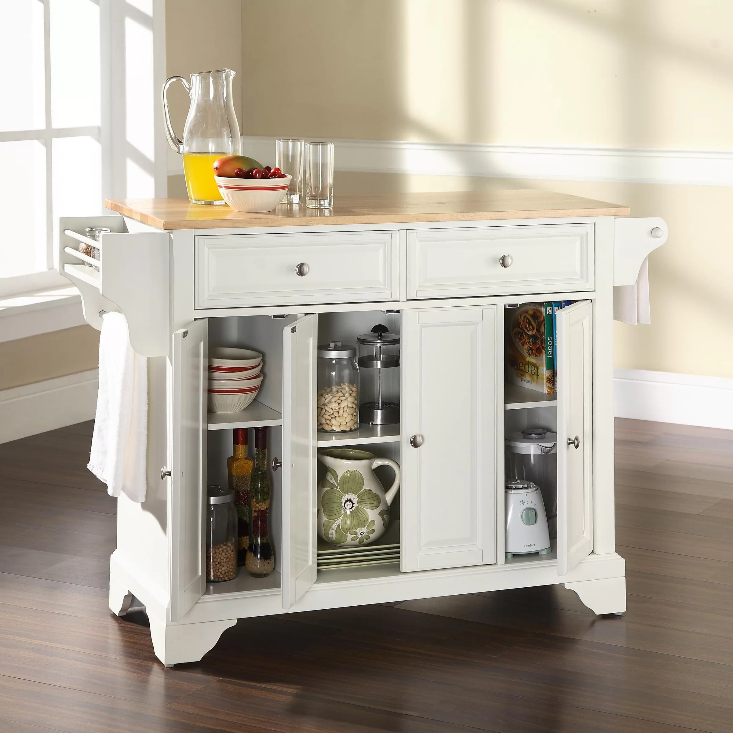Crosley Lafayette Kitchen Island With Wood Top Amp Reviews
