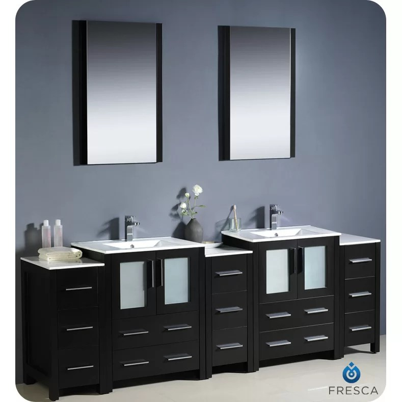 Fresca Bari Torino 84 Double Modern Bathroom Vanity Set