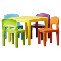Tot Tutors Kids 5 Piece Plastic Table and Chair Set