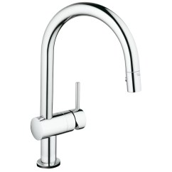 Square Kitchen Faucet Base Cabinet Depth Grohe Minta Touchless Single Handle Hole Standard