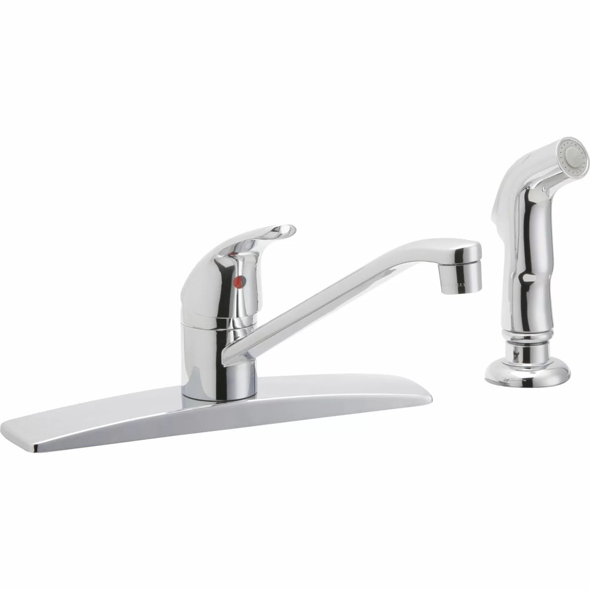 kitchen faucet with side spray orange cabinets elkay single handle deck mount