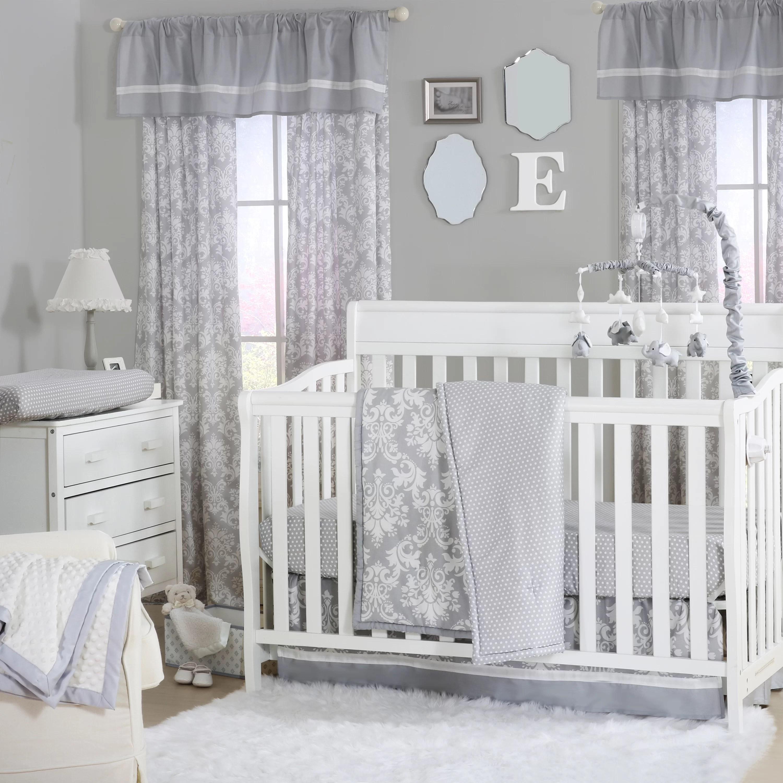 The Peanut Shell Damask Dot 4 Piece Crib Bedding Set