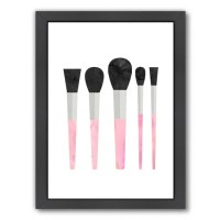 Americanflat Pink Makeup Brushes Framed Graphic Art ...