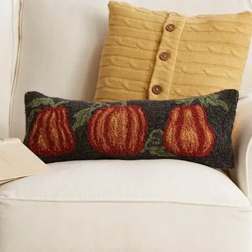 Pumpkin Trio Hooked Pillow Wayfair