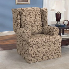 Slipcovers For Wingback Chairs With T Cushion Large Leather Chair Ottoman Sure Fit Scroll Classic Wing Skirted