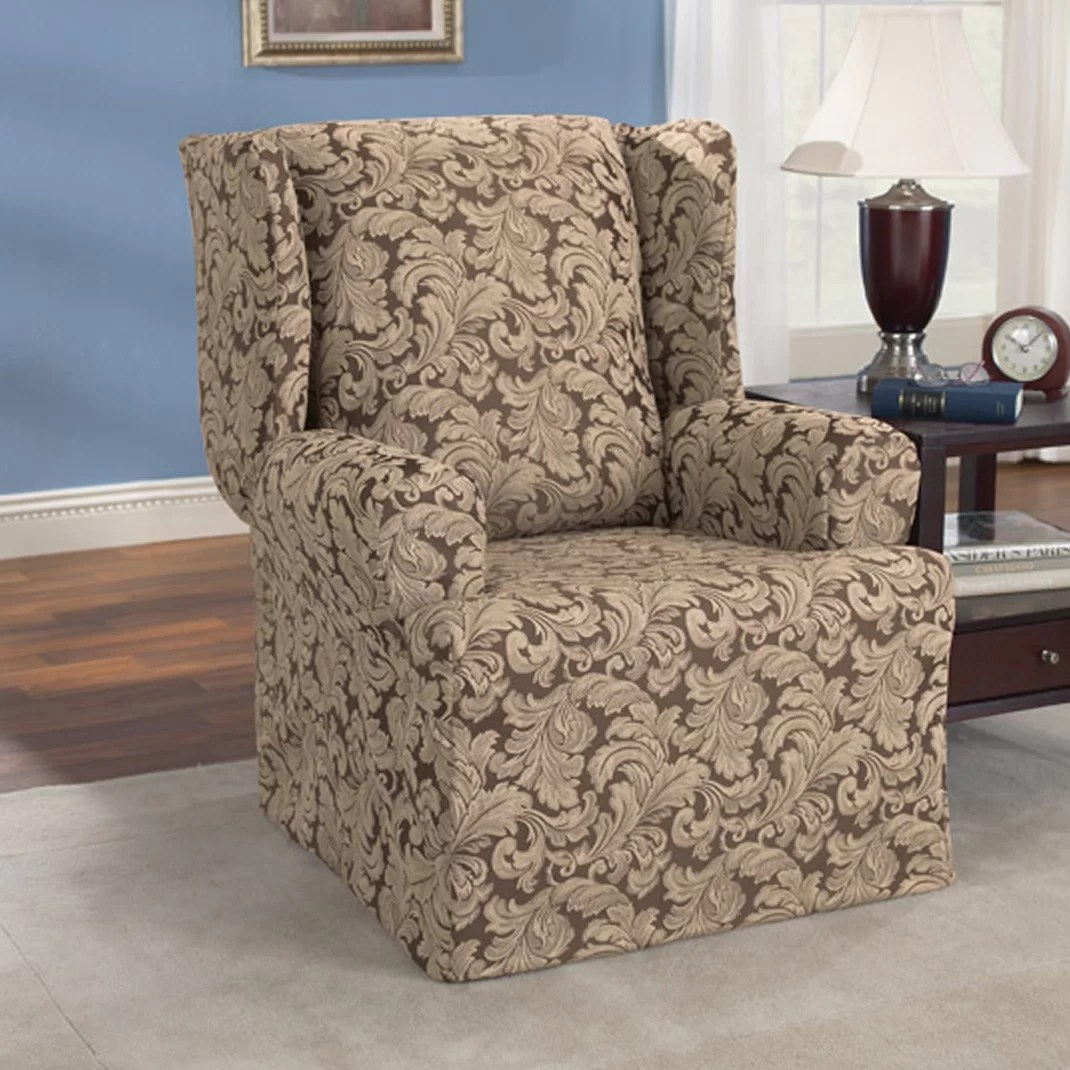 blue wingback chair covers pit stop gaming sure fit scroll classic wing t cushion skirted