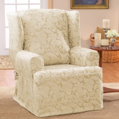 Blue Wingback Chair Covers Phil And Ted High Review Scroll Classic Wing T Cushion Skirted Slipcover