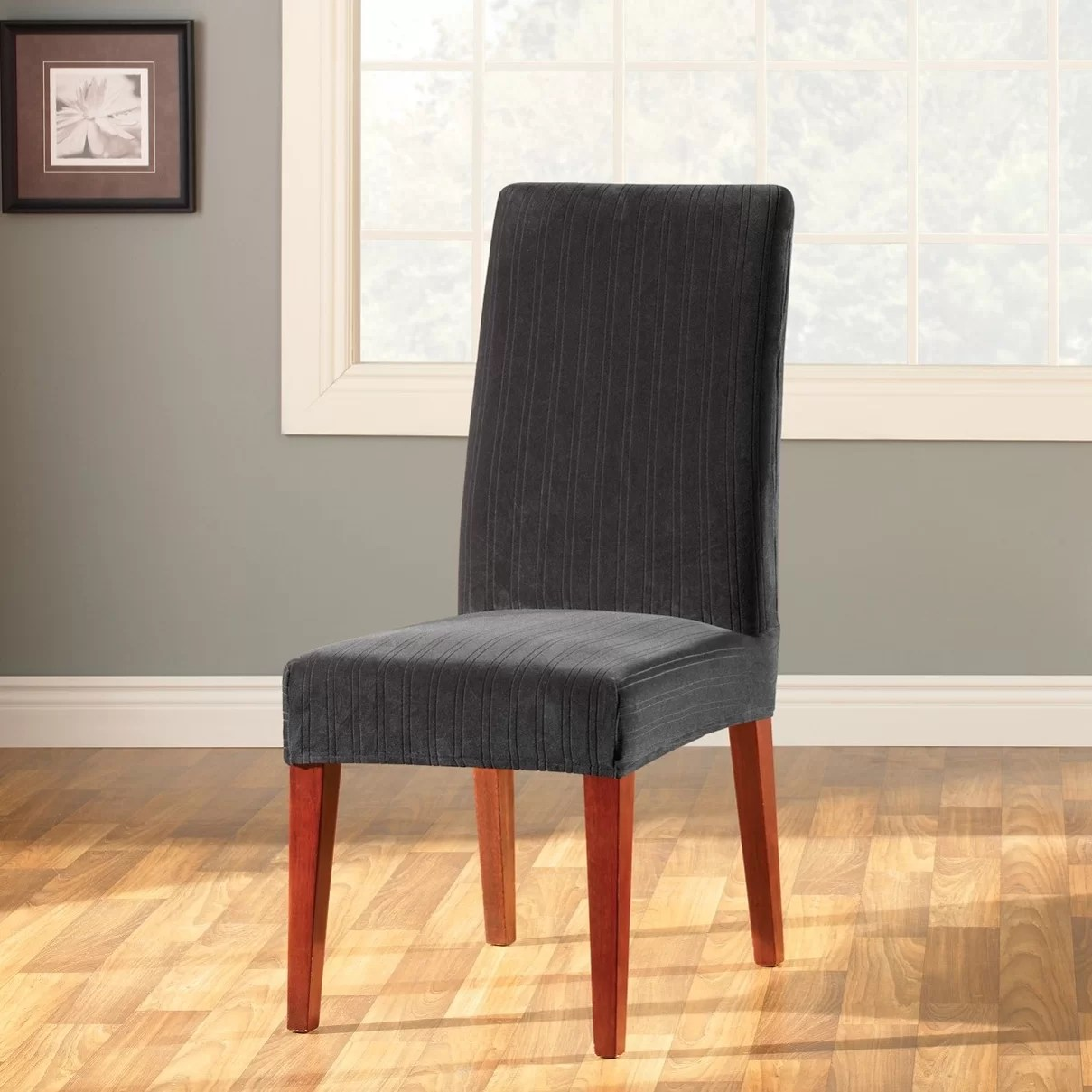 dining chair slipcover red barrel sure fit stretch pinstripe