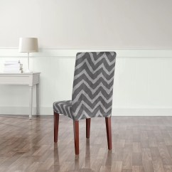 Sure Fit Parsons Chair Slipcovers Revolving Blue Stretch Chevron Dining Slipcover And Reviews