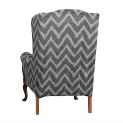 Slipcovers For Wingback Chairs With T Cushion Ikea White Desk Chair Sure Fit Stretch Chevron Wing Slipcover