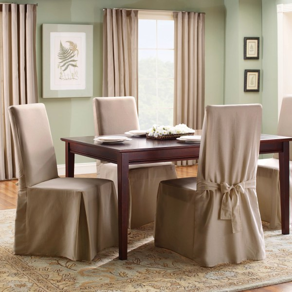 Sure Fit Cotton Duck Full Length Dining Room Chair Slipcover &