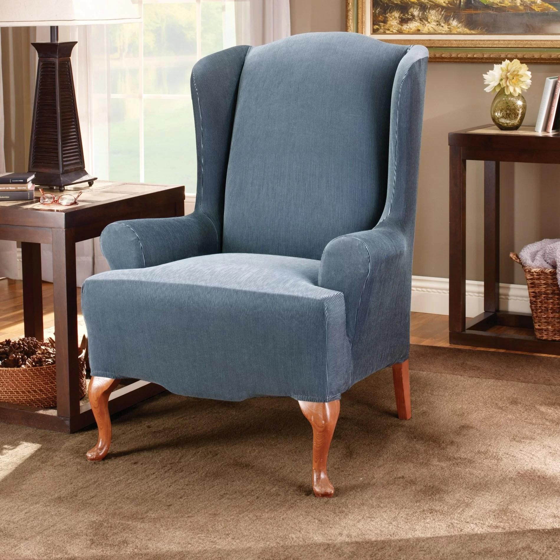 striped wingback chair gaiam balance ball sure fit stretch stripe t cushion slipcover