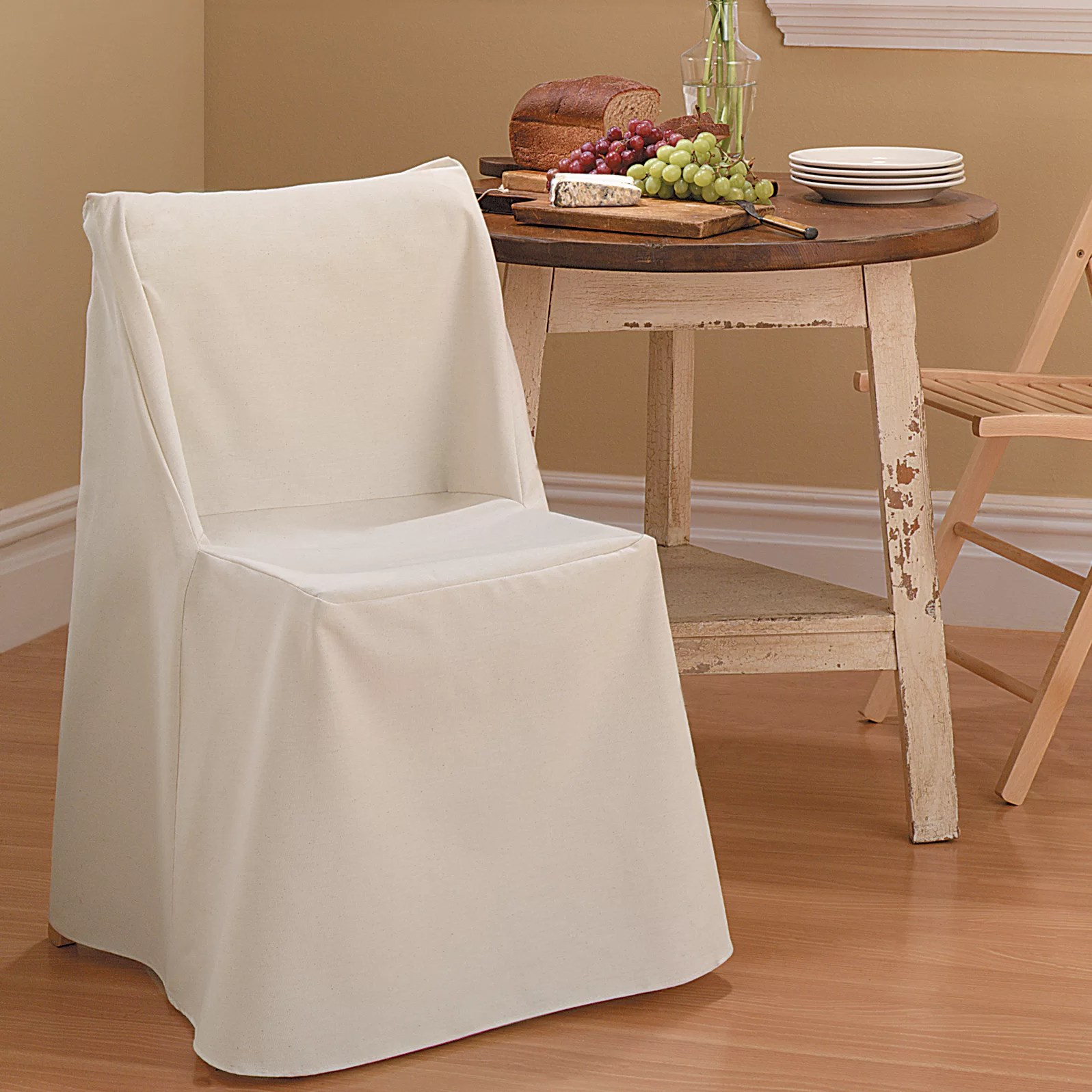 folding chair slipcovers child sized table and chairs set sure fit cotton duck slipcover reviews