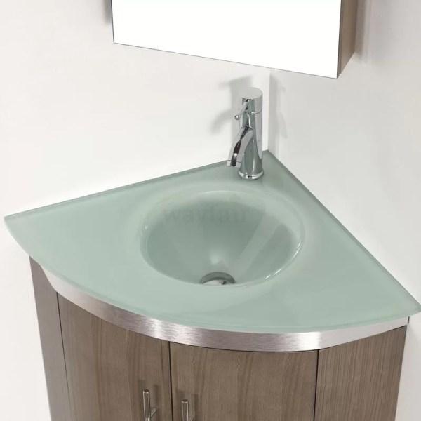 "Diara 31"" Single Corner Bathroom Vanity Set With Mirror"