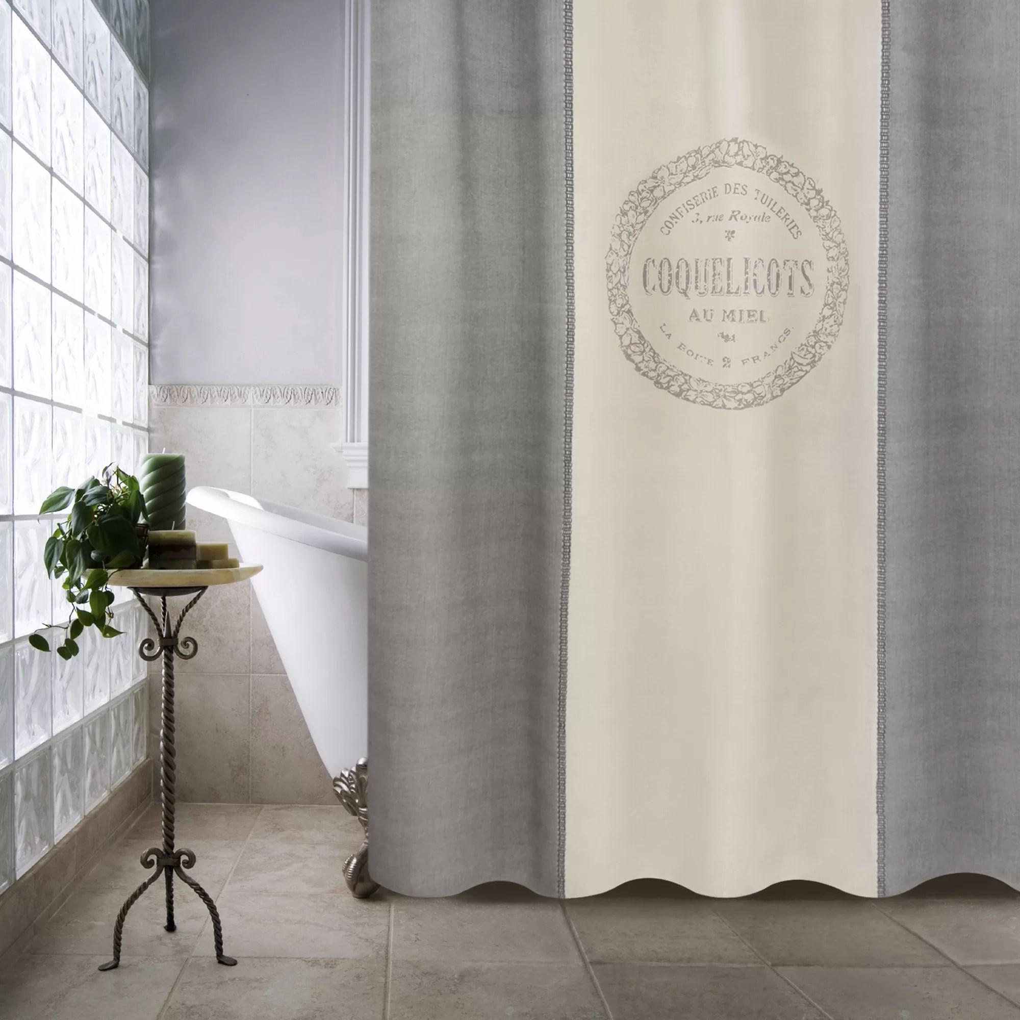 Metro Farmhouse Cotton Coquelicots Shower Curtain  Wayfair