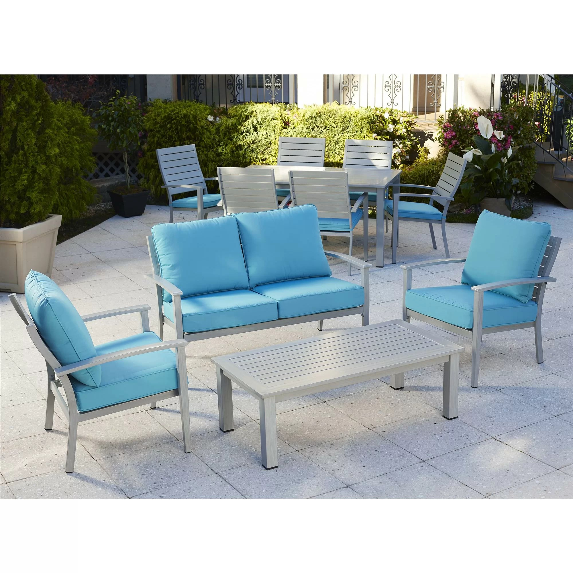 brushed aluminum chairs baby swing chair video outdoor patio furniture 4 piece deep