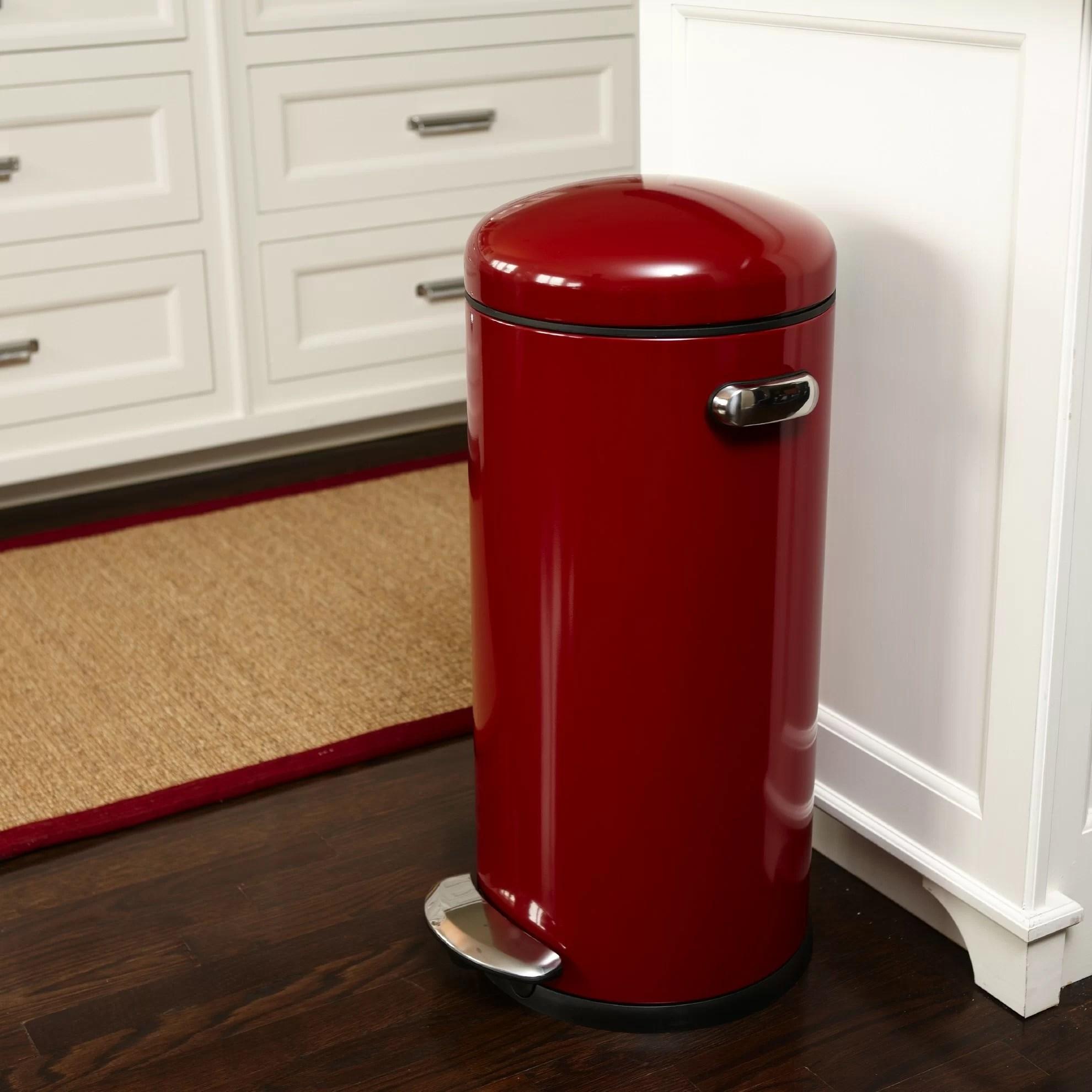 red kitchen trash can soapstone countertops 8 gallon round retro step wayfair