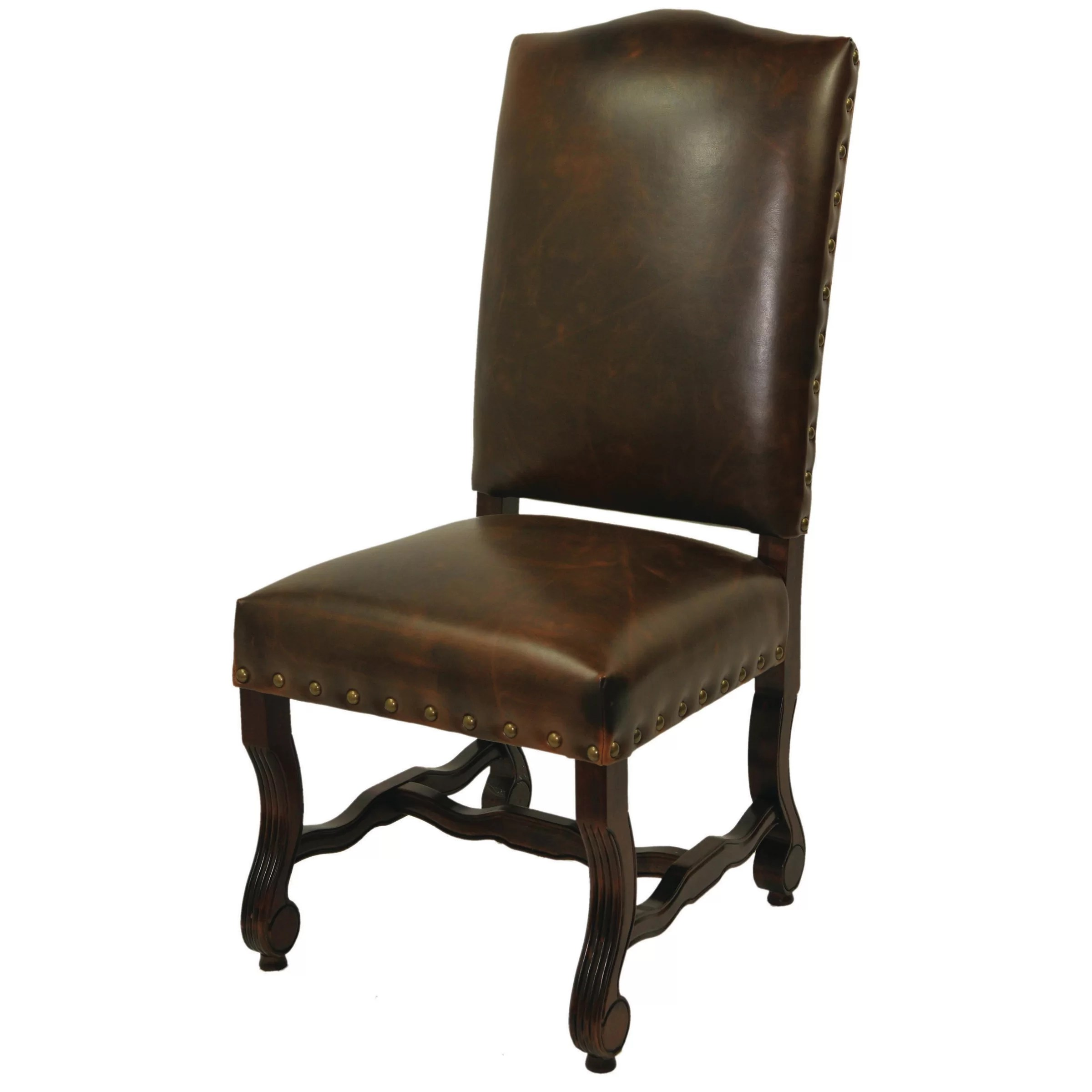 Leather Side Chair True Leather High Back Side Chair Wayfair