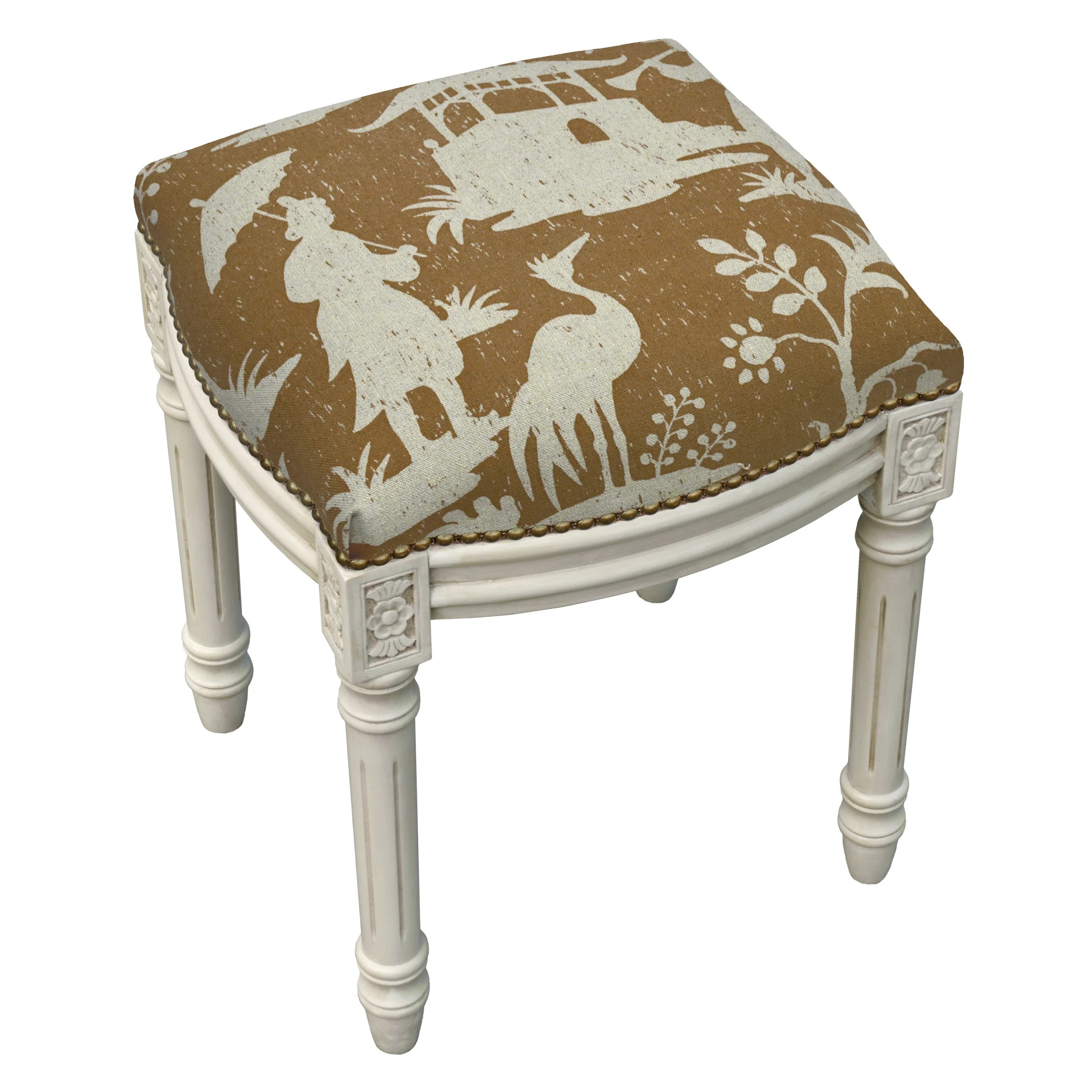 Upholstered Vanity Chair Floral Chinoiserie Linen Upholstered Vanity Stool Wayfair