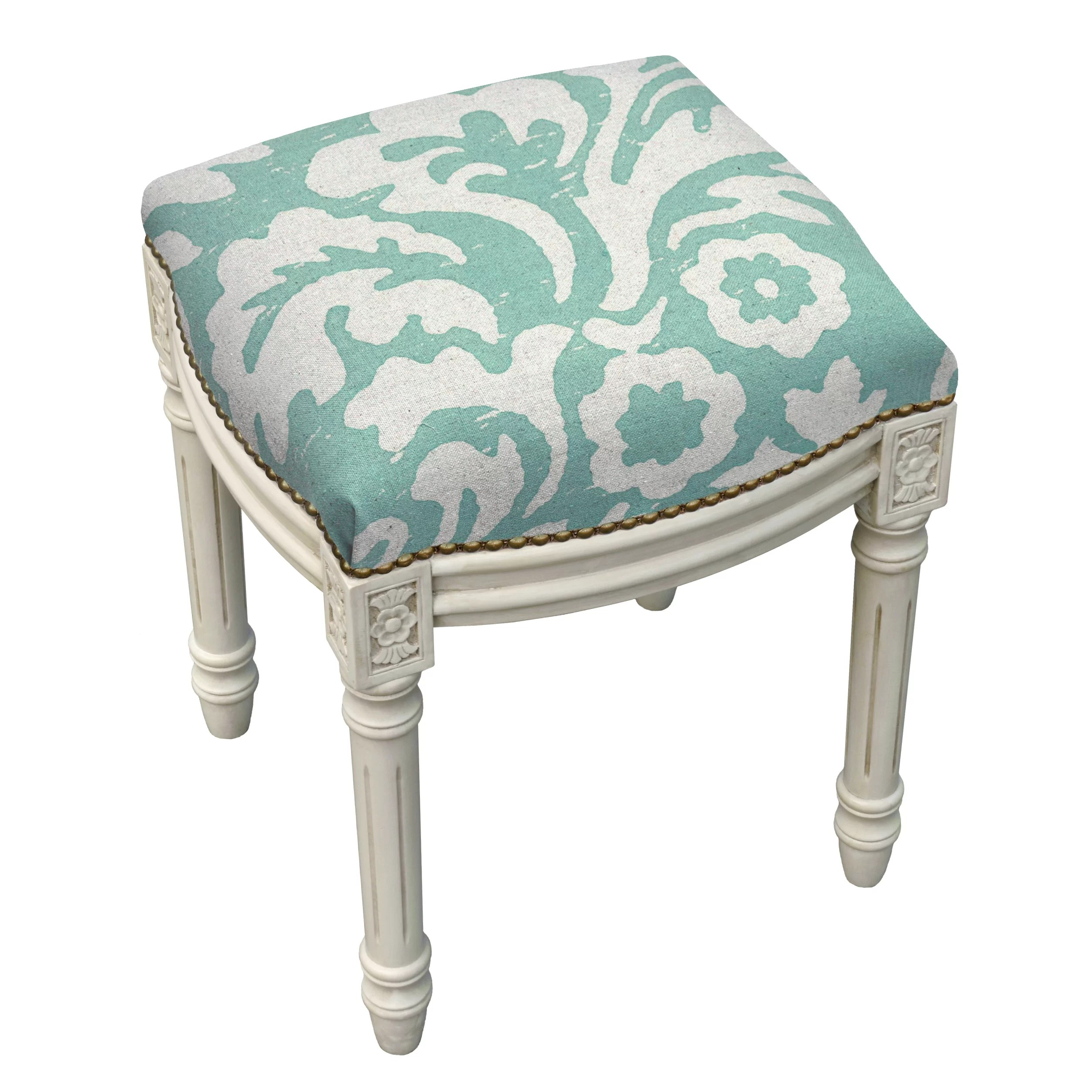 Upholstered Vanity Chair Floral Jacobean Linen Upholstered Vanity Stool Wayfair