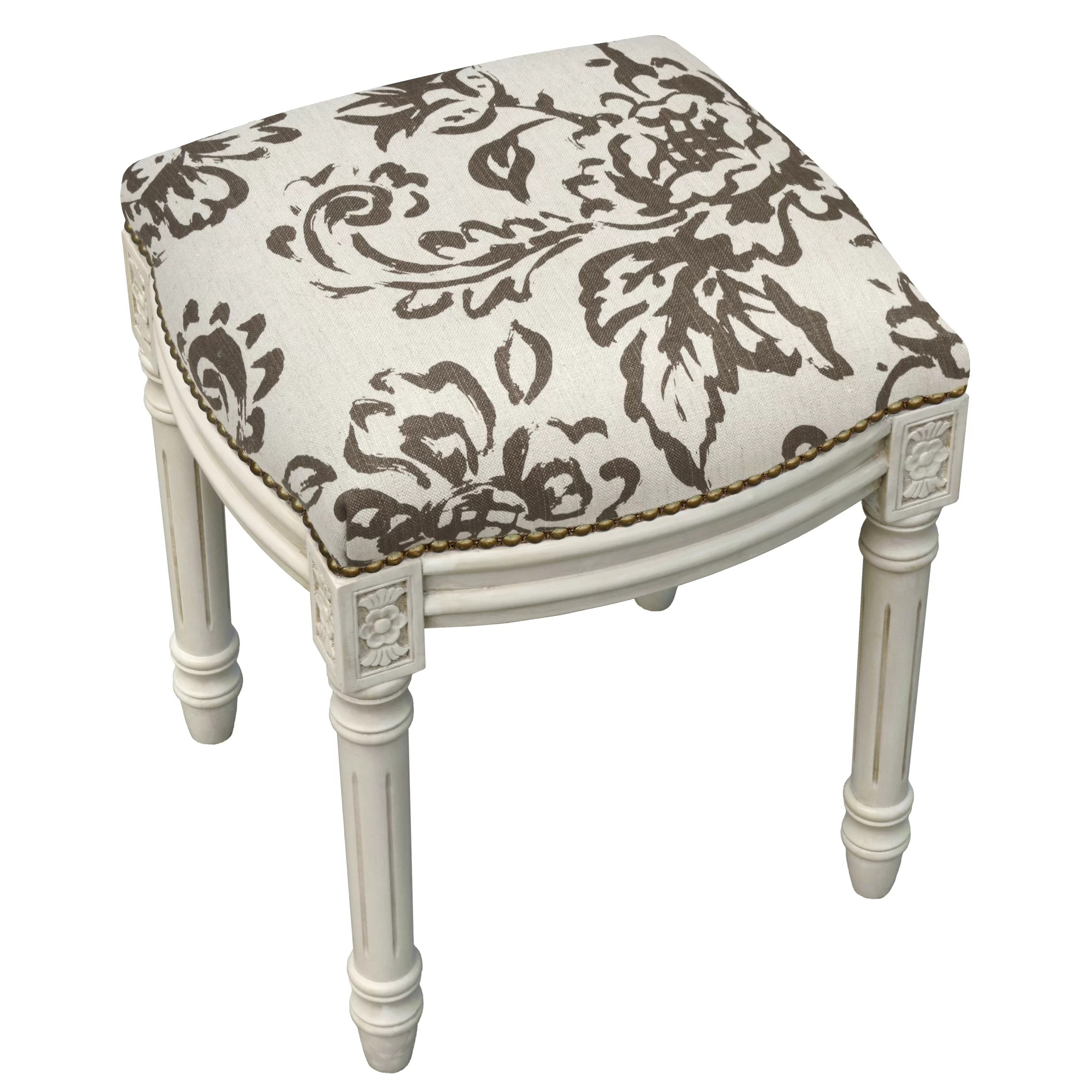 Upholstered Vanity Chair 123 Creations Toile Linen Upholstered Vanity Stool With