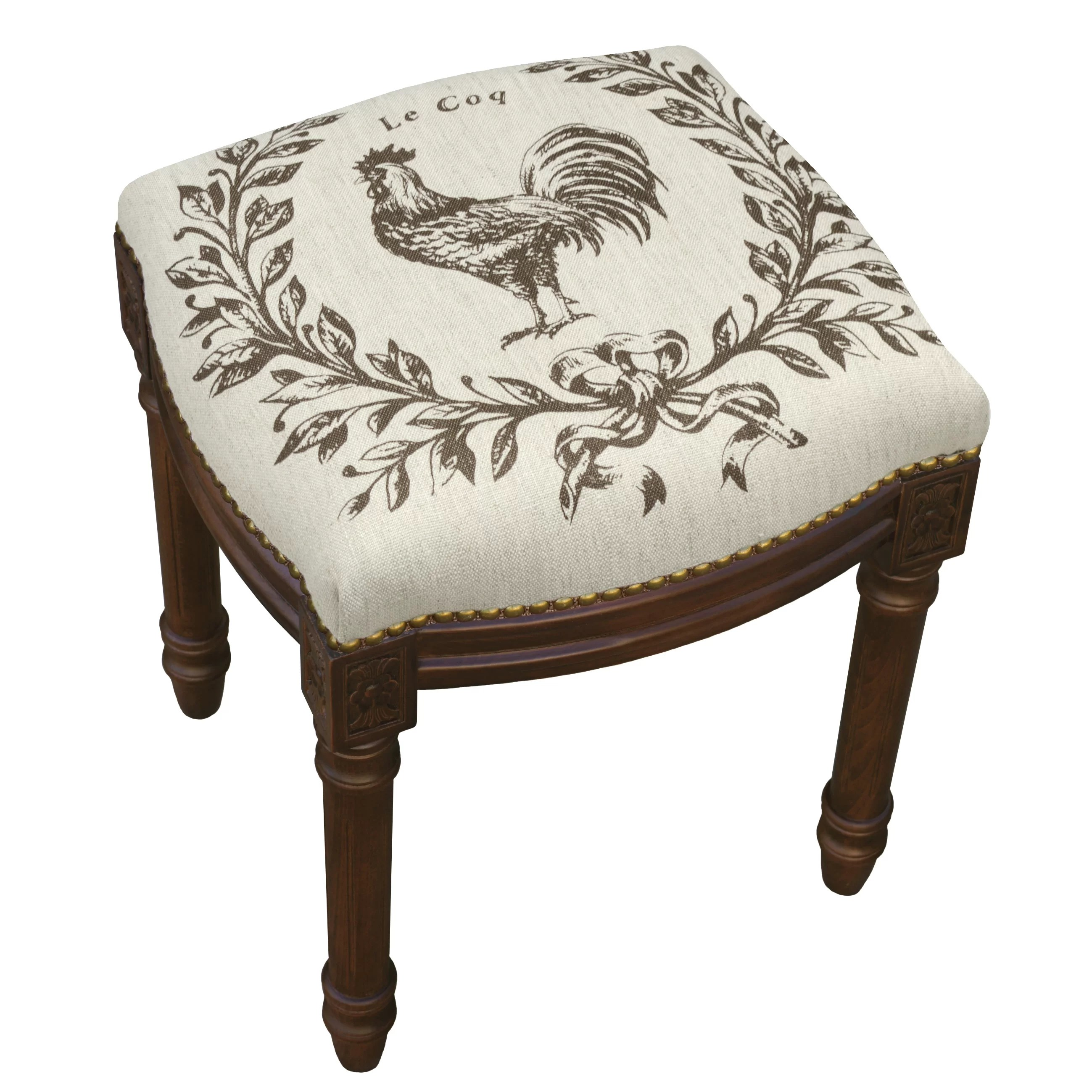 Upholstered Vanity Chair 123 Creations Rooster Linen Upholstered Vanity Stool With