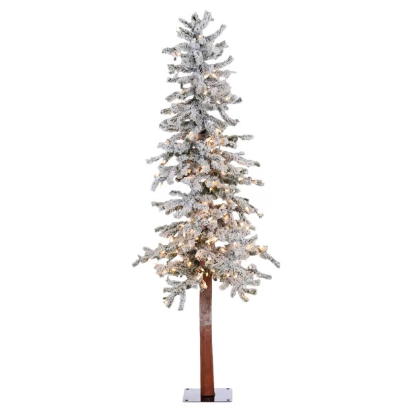 Vickerman 539 Flocked Spruce Alpine White Artificial