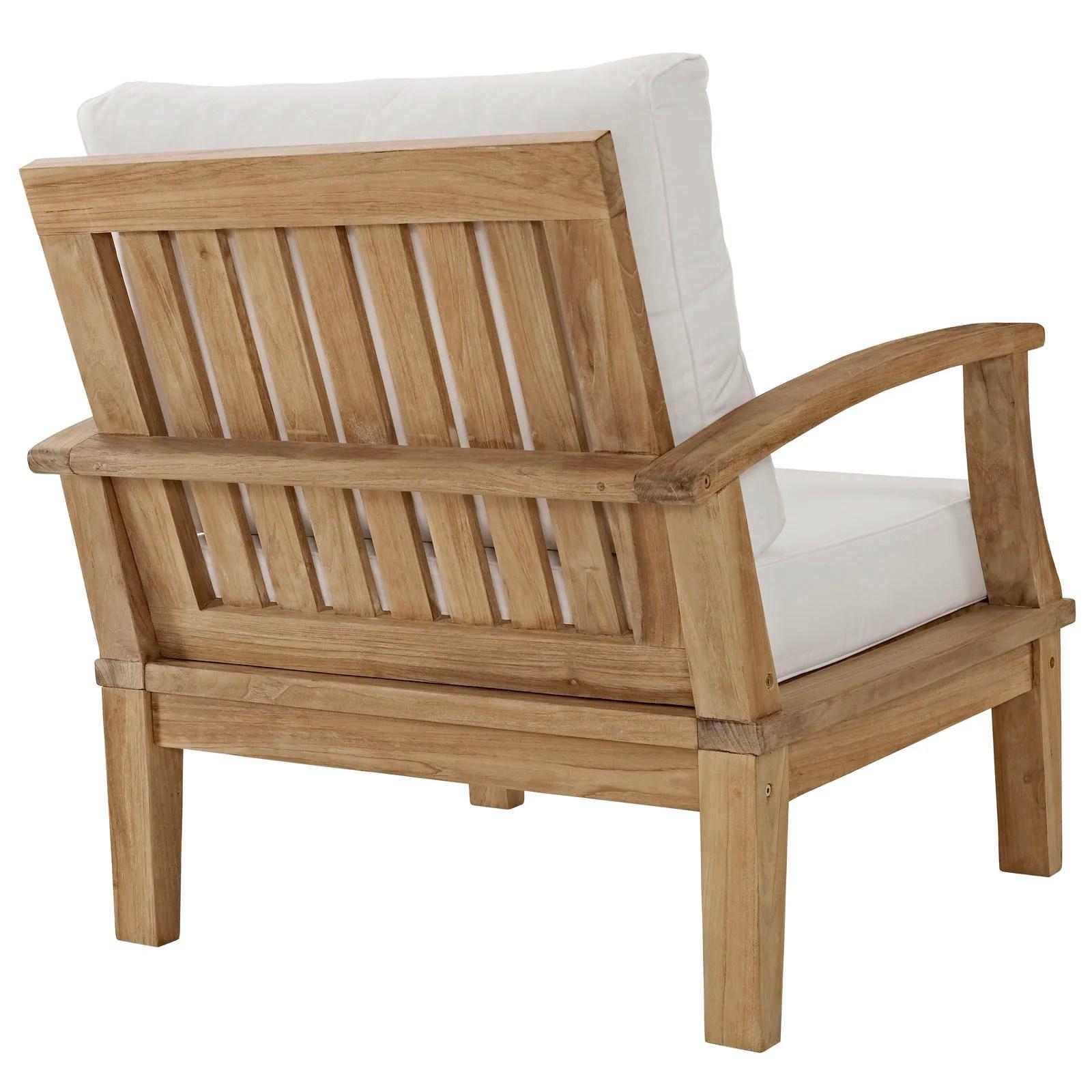 1 piece patio chair cushions black plastic with wooden legs modway marina teak 4 lounge set