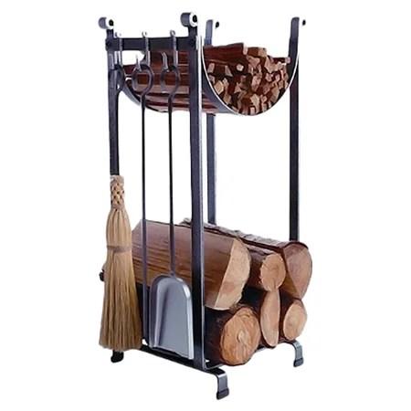 3 Piece Steel Fireplace Tool Set with Log Rack  Wayfair
